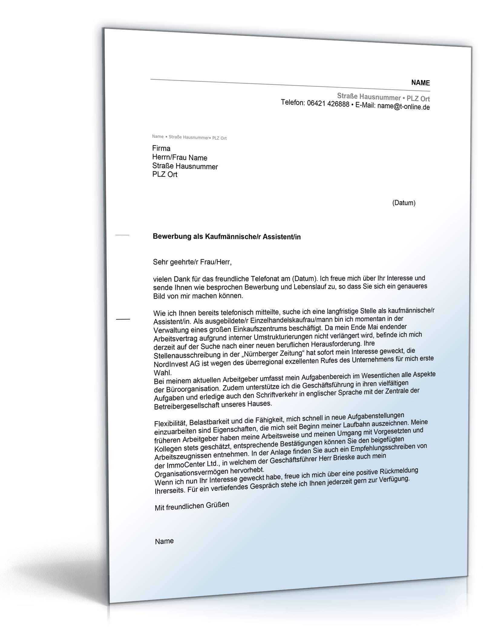 anschreiben bewerbung kaufmnnischer assistent - Bewerbung Kaufmannische Angestellte