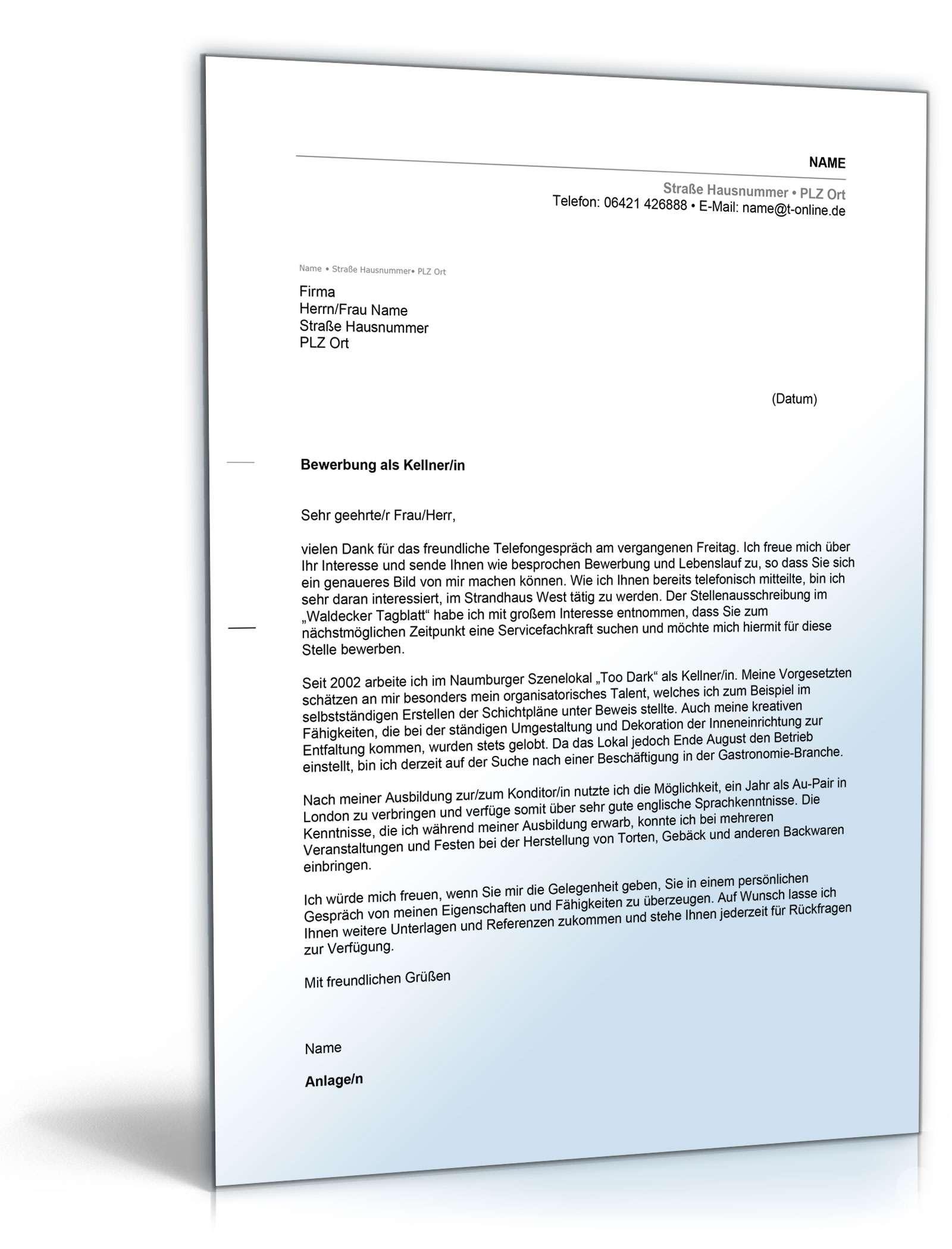 Anschreiben Bewerbung Kellner Muster Zum Download