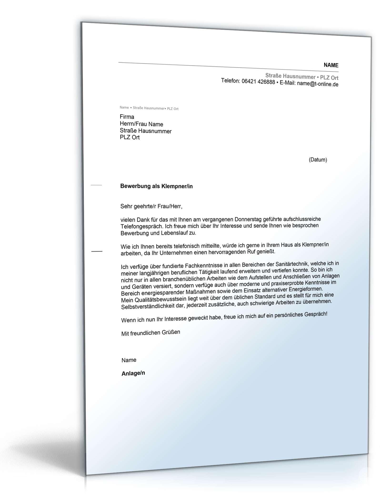 Anschreiben Bewerbung Klempner Muster Zum Download