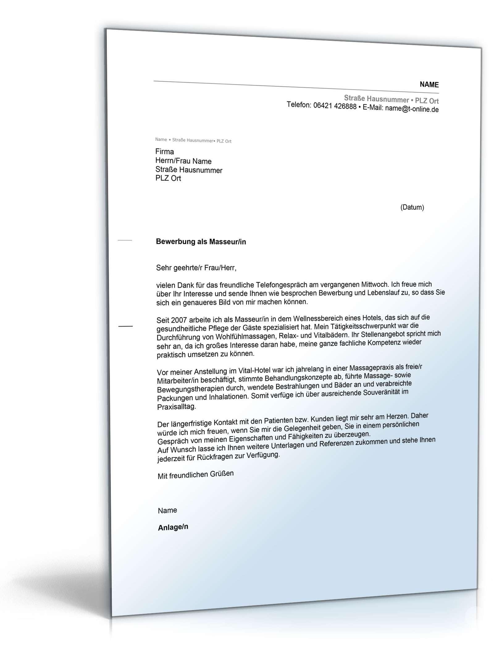 Anschreiben Bewerbung (Masseur/Masseurin) Dokument zum Download