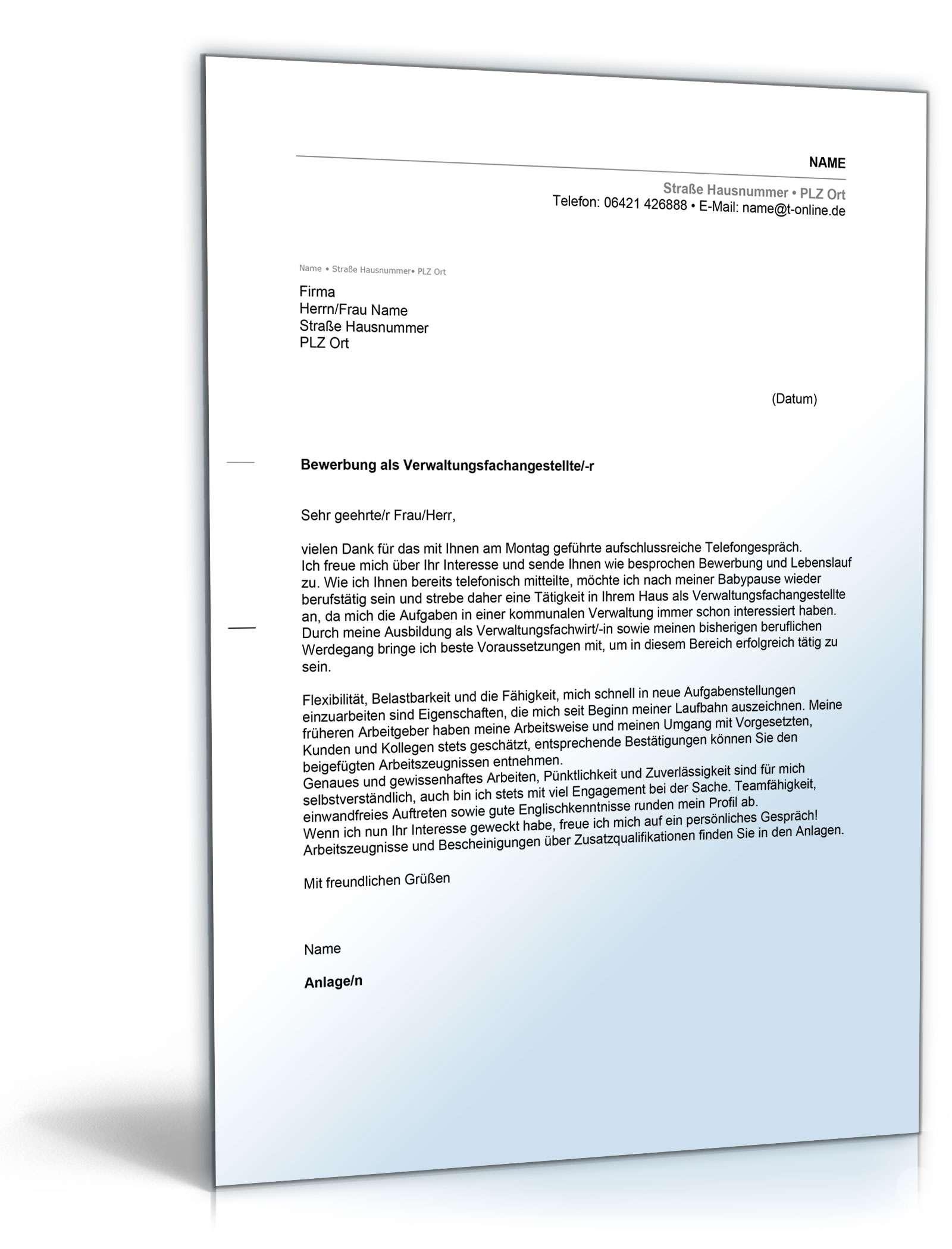 Anschreiben Bewerbung Verwaltungsfachangestellte