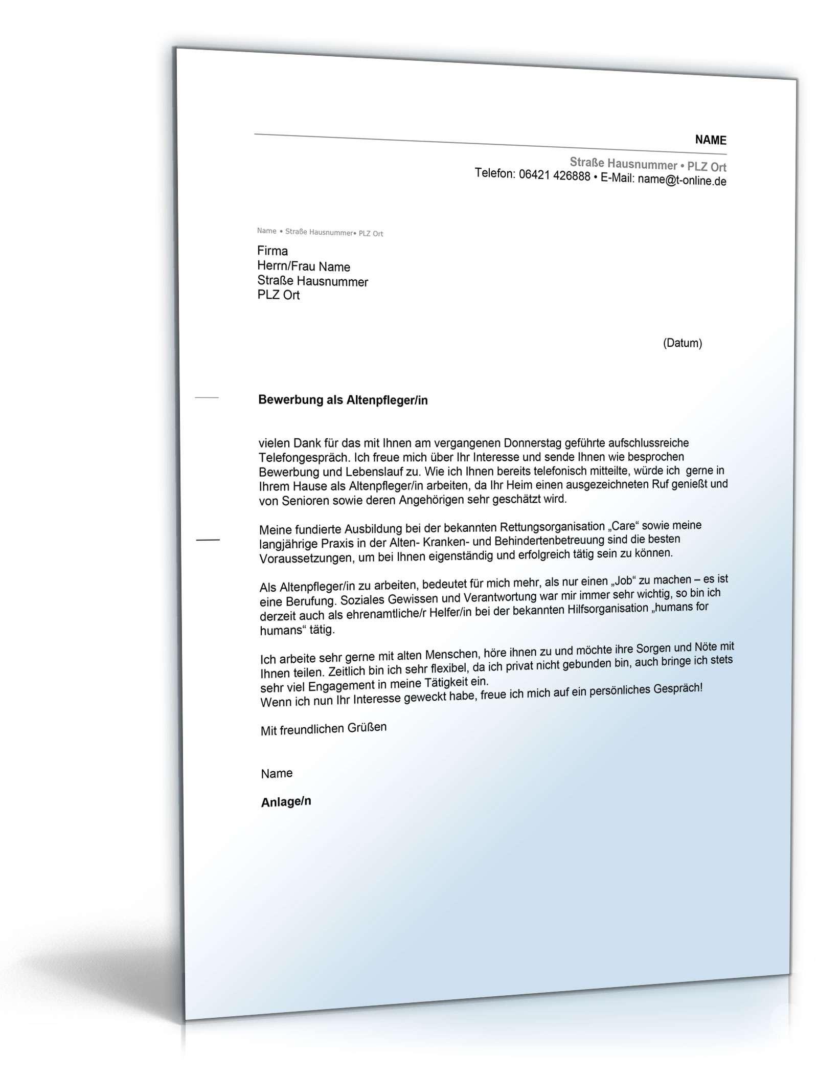 Anschreiben Bewerbung (Altenpfleger/ Altenpflegerin) Dokument zum Download