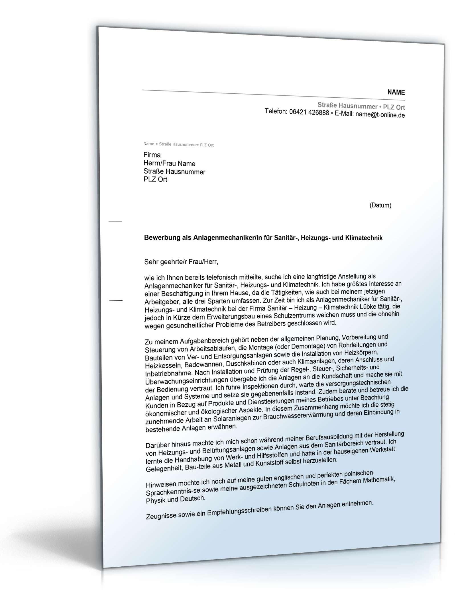 Anschreiben Bewerbung Anlagenmechaniker | Muster zum Download