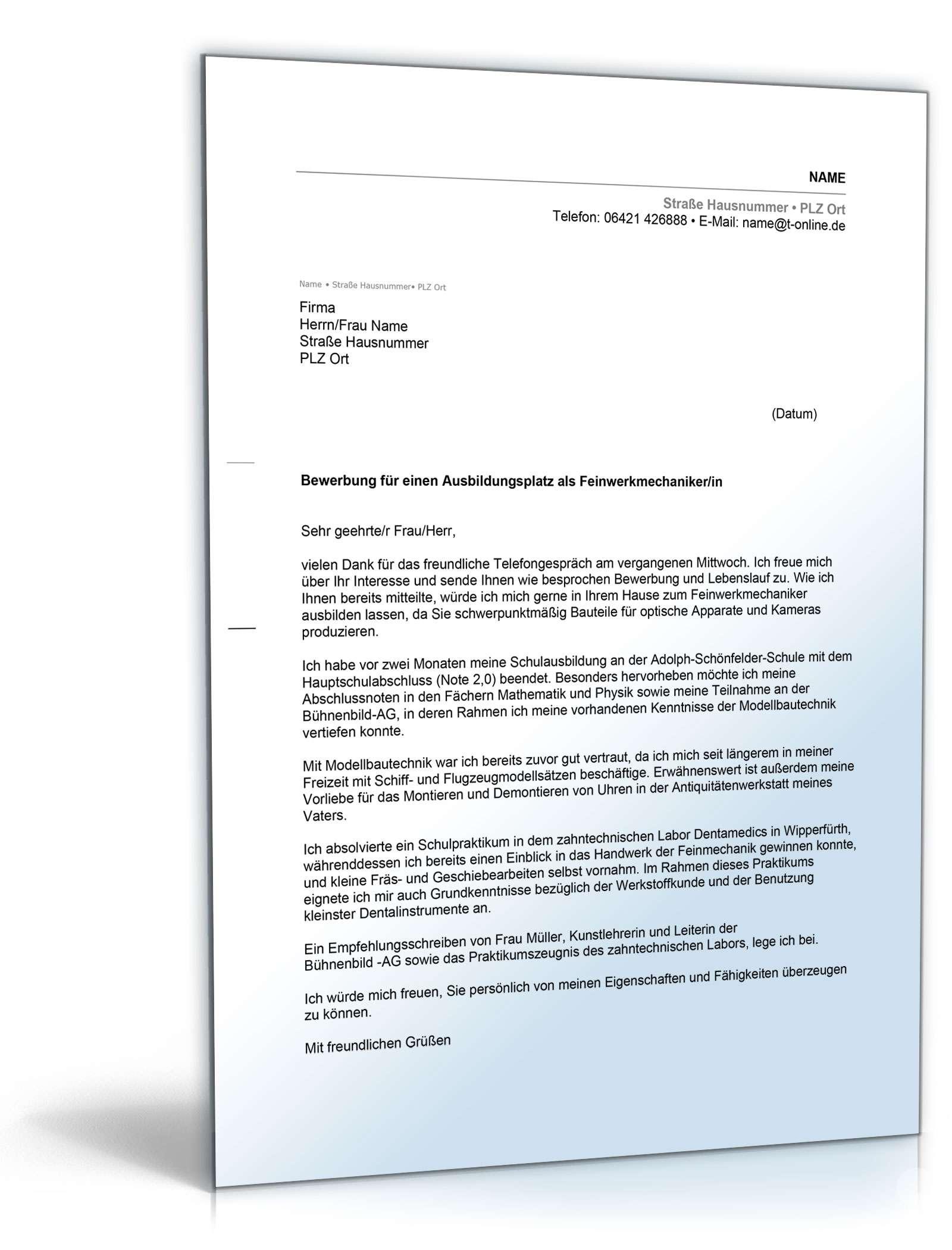anschreiben bewerbung hauptschulabschluss ausbildungsplatz - Bewerbungsvorlage Anschreiben