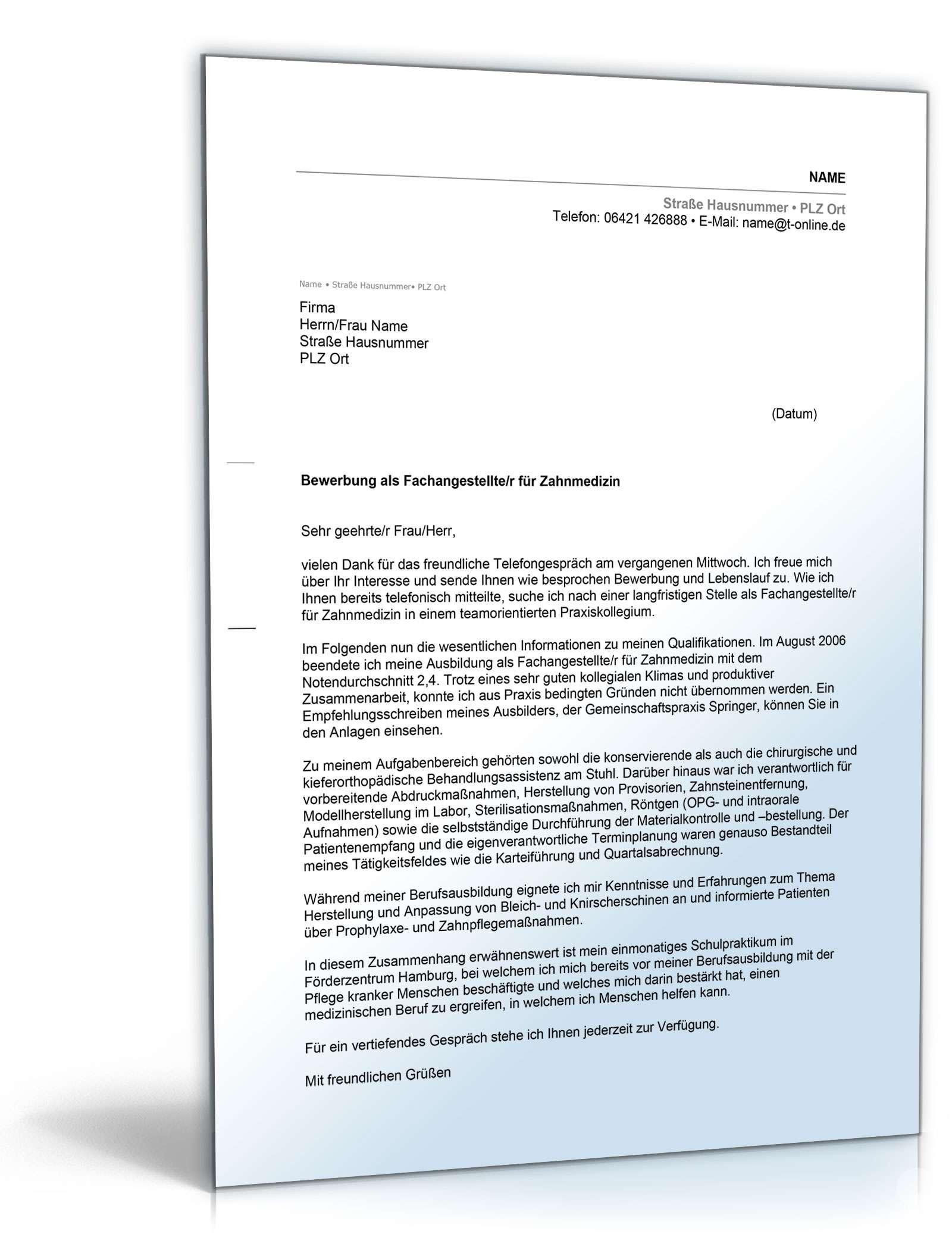 Anschreiben Bewerbung Berufseinsteiger | Vorlage zum Download