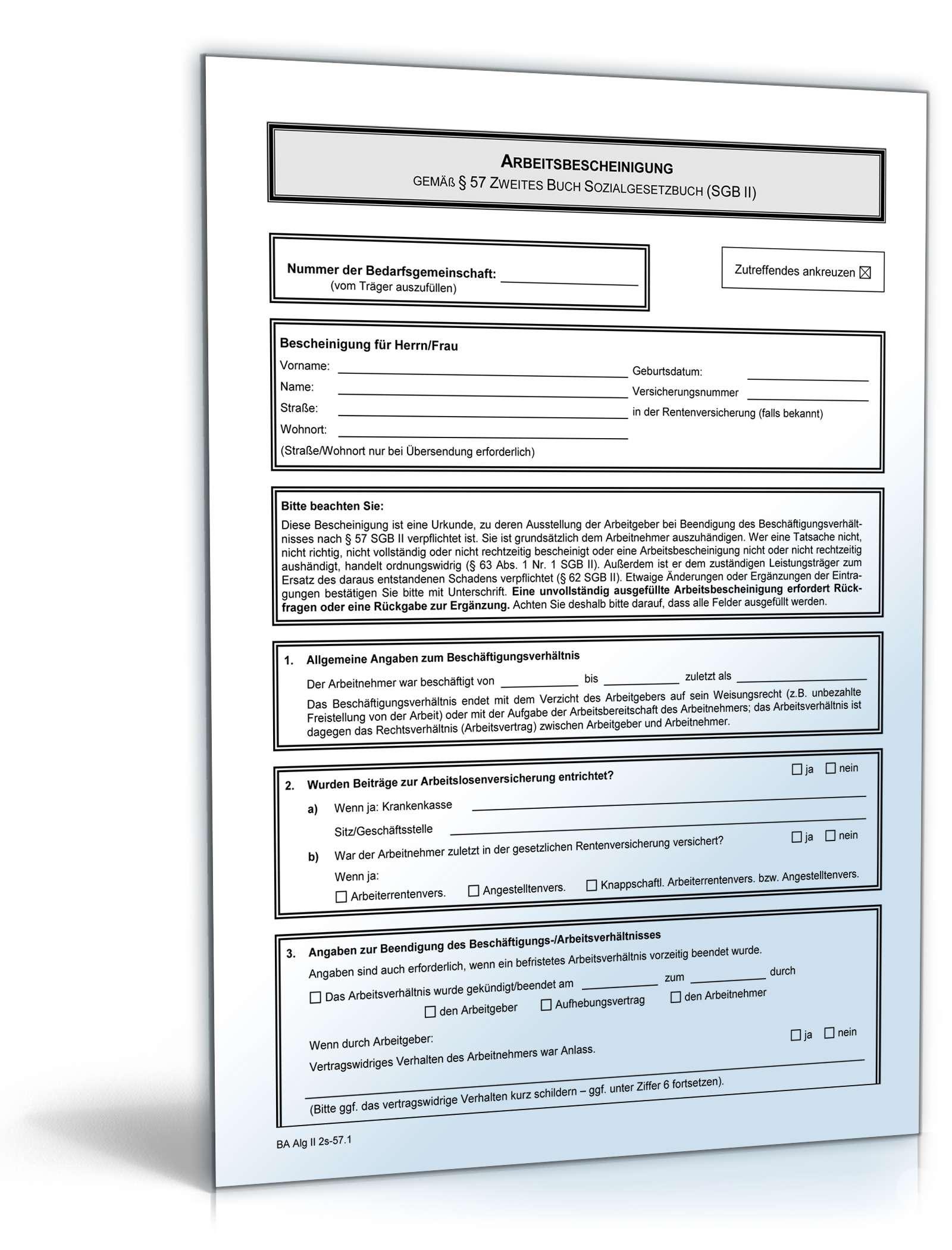 Arbeitsbescheinigung Nach Alg Ii Formular Zum Download