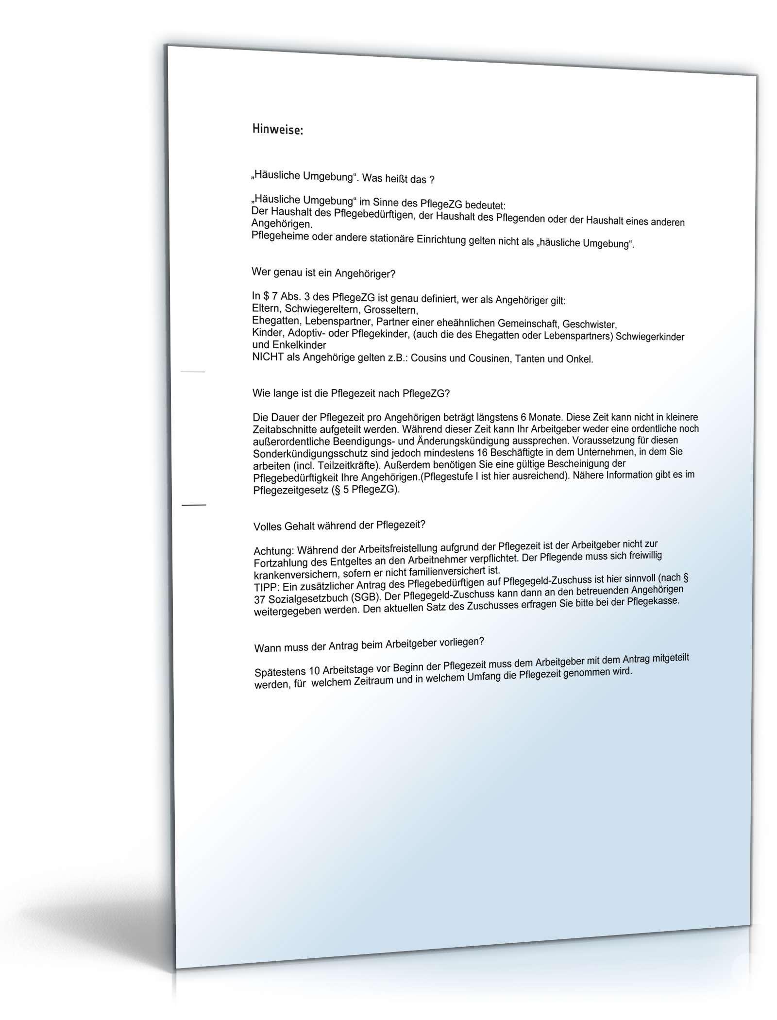 Antrag Arbeitszeitverringerung Pflegezeit Muster Zum Download