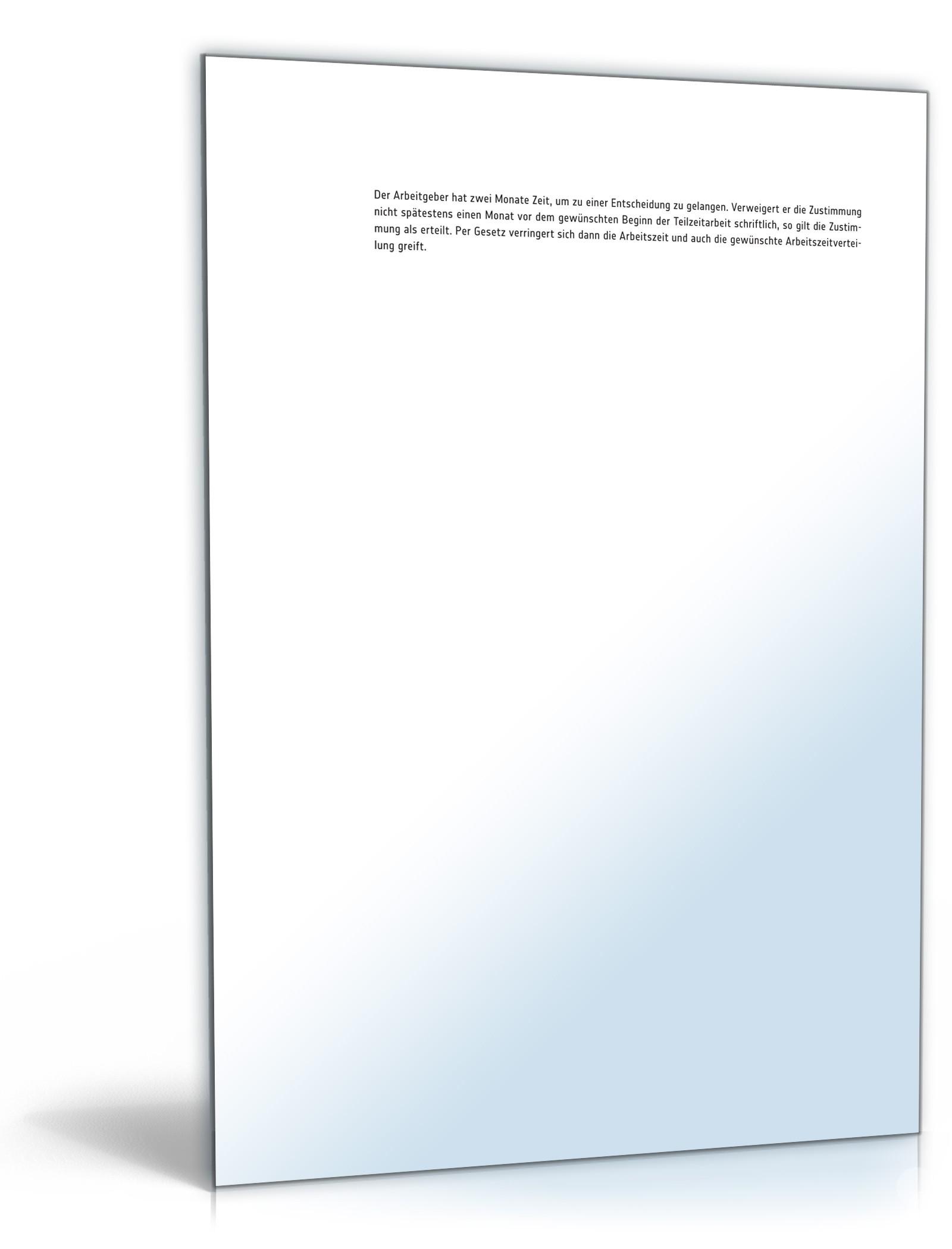 Anmeldung Teilzeitarbeit - Muster-Vorlage zum Download