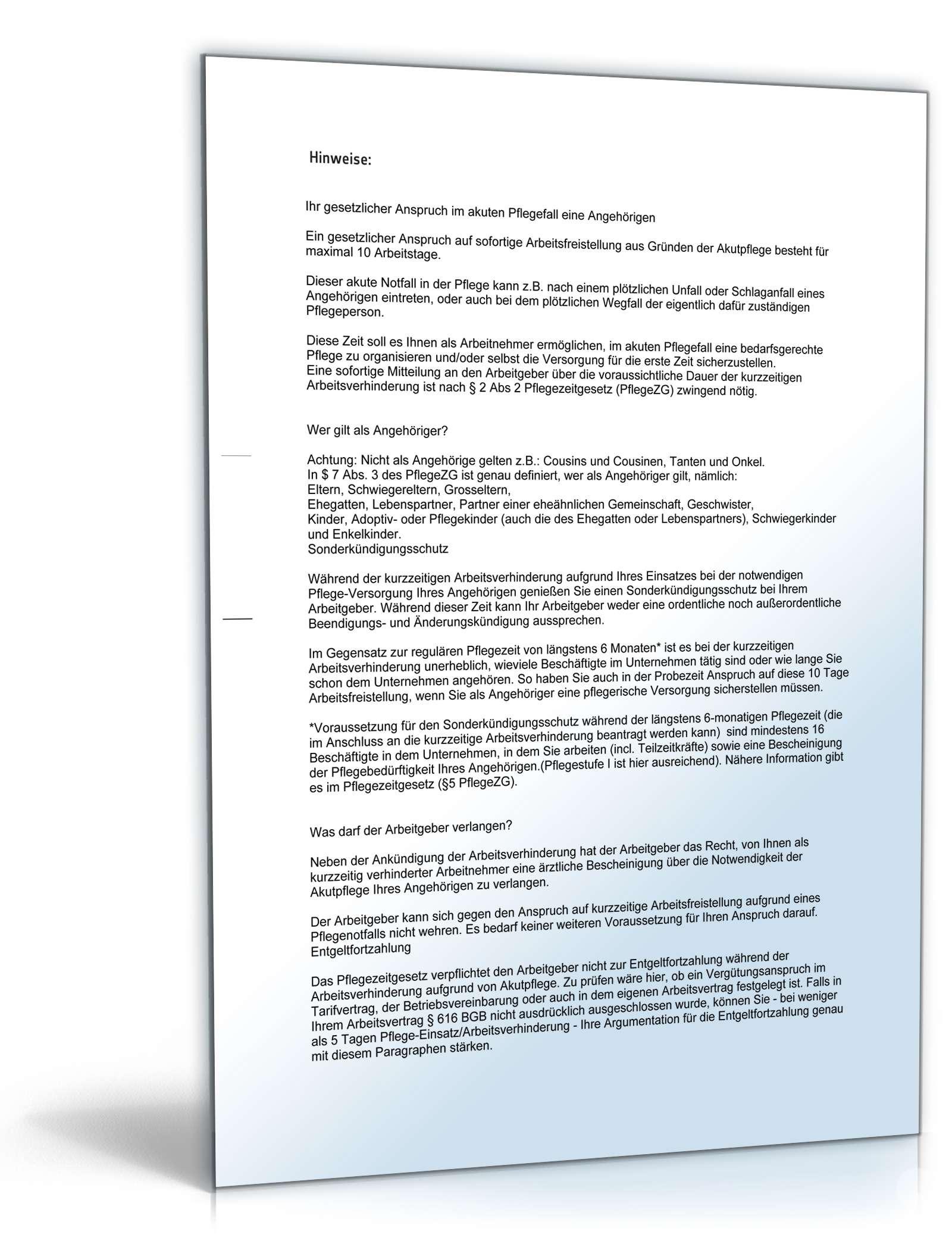 Anzeige Arbeitsverhinderung Pflegezeit Muster Zum Download