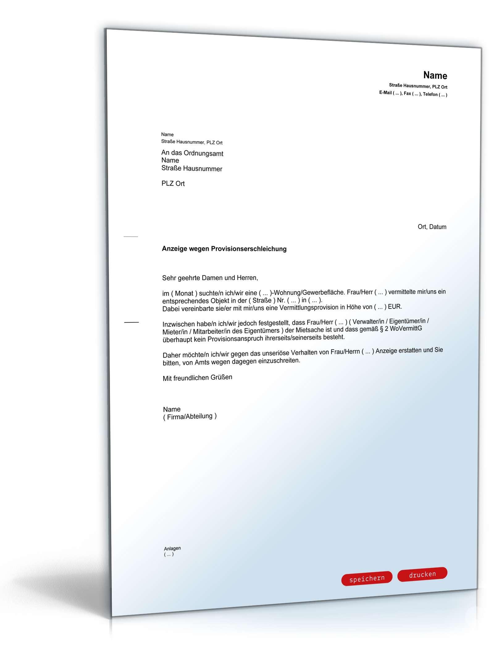 Anzeige Wegen Provisionserschleichung Muster Zum Download