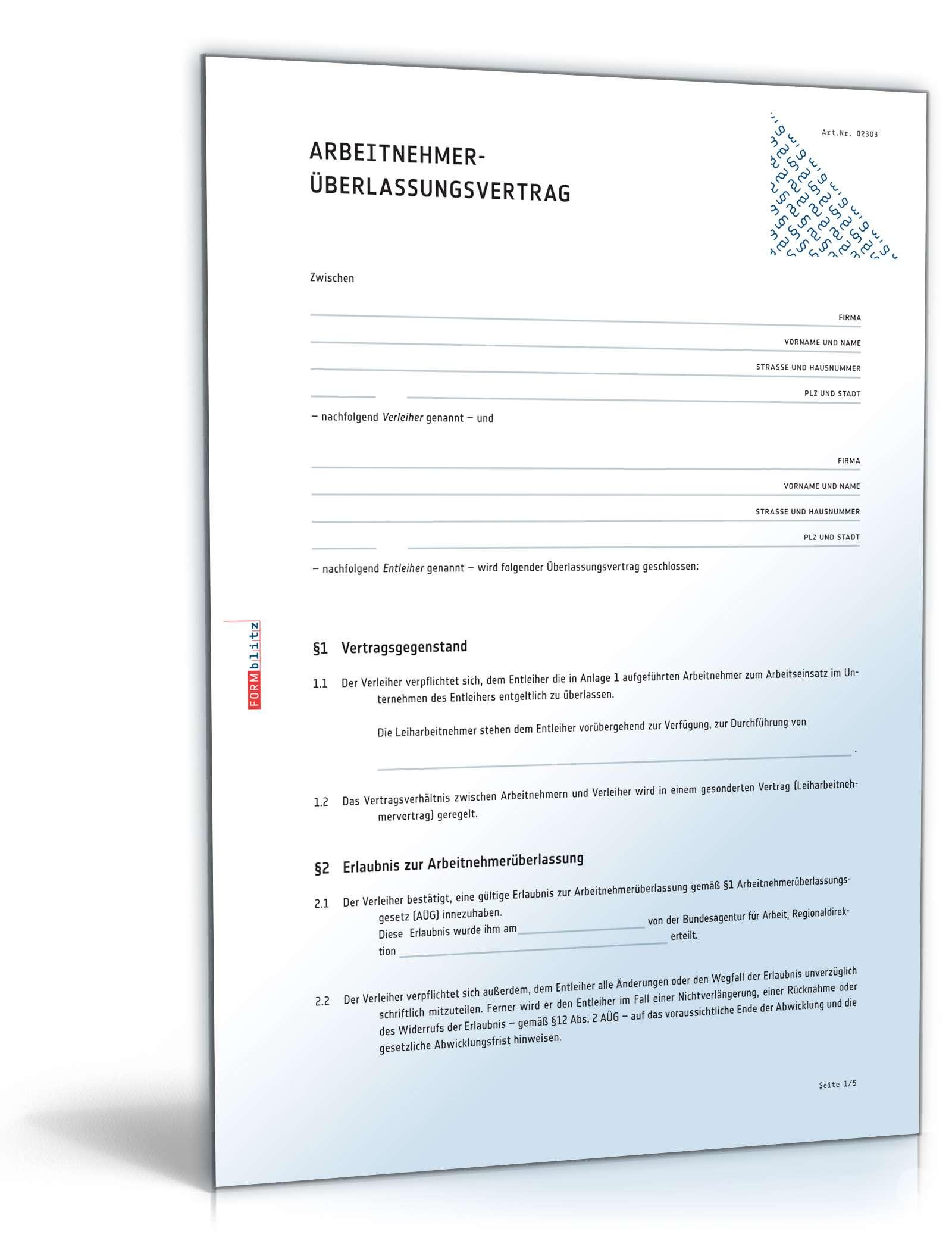 Arbeitnehmerüberlassungsvertrag Muster Zum Download