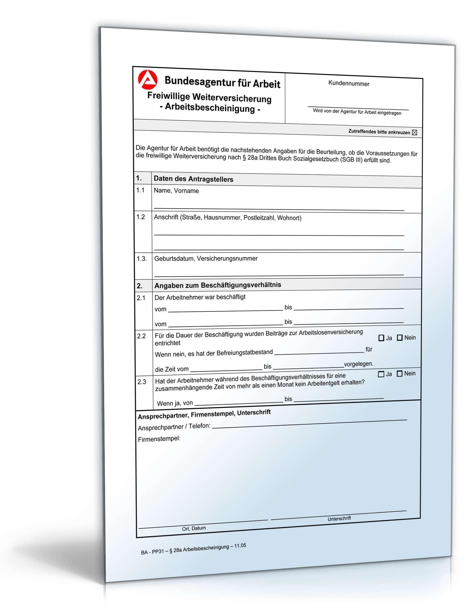 Arbeitsbescheinigung Freiwillige Weiterversicherung
