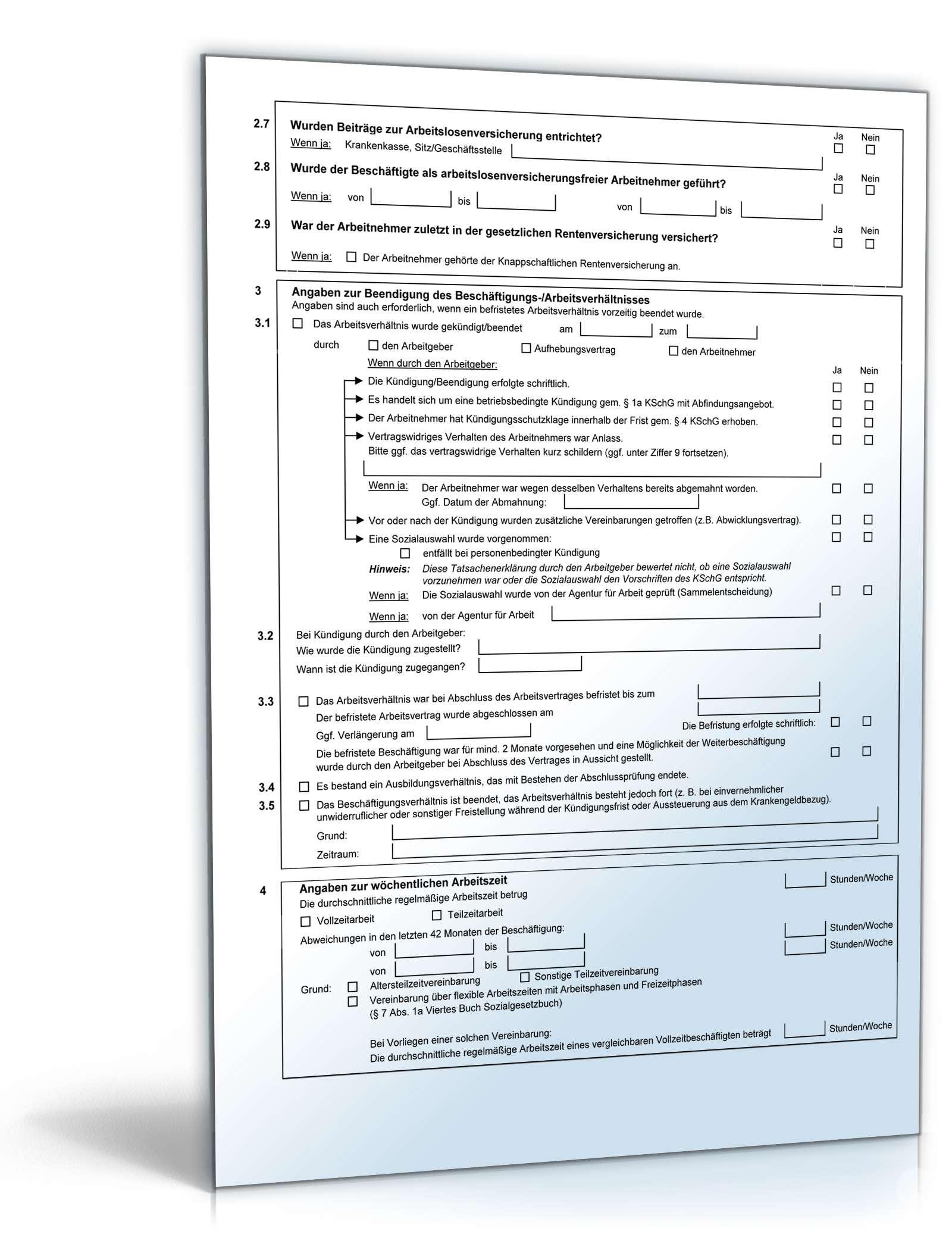 Arbeitsbescheinigung Für Die Arbeitsagentur Formular Zum Download