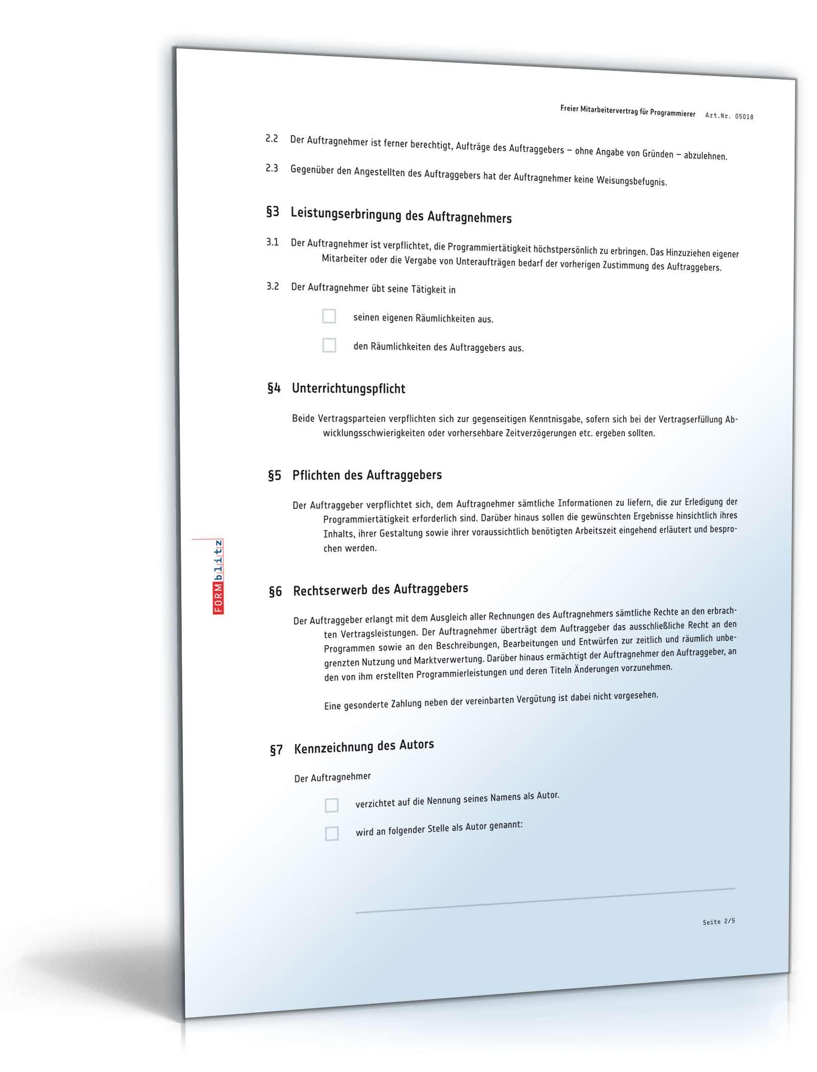 Freier Mitarbeitervertrag Programmierer   Muster zum Download