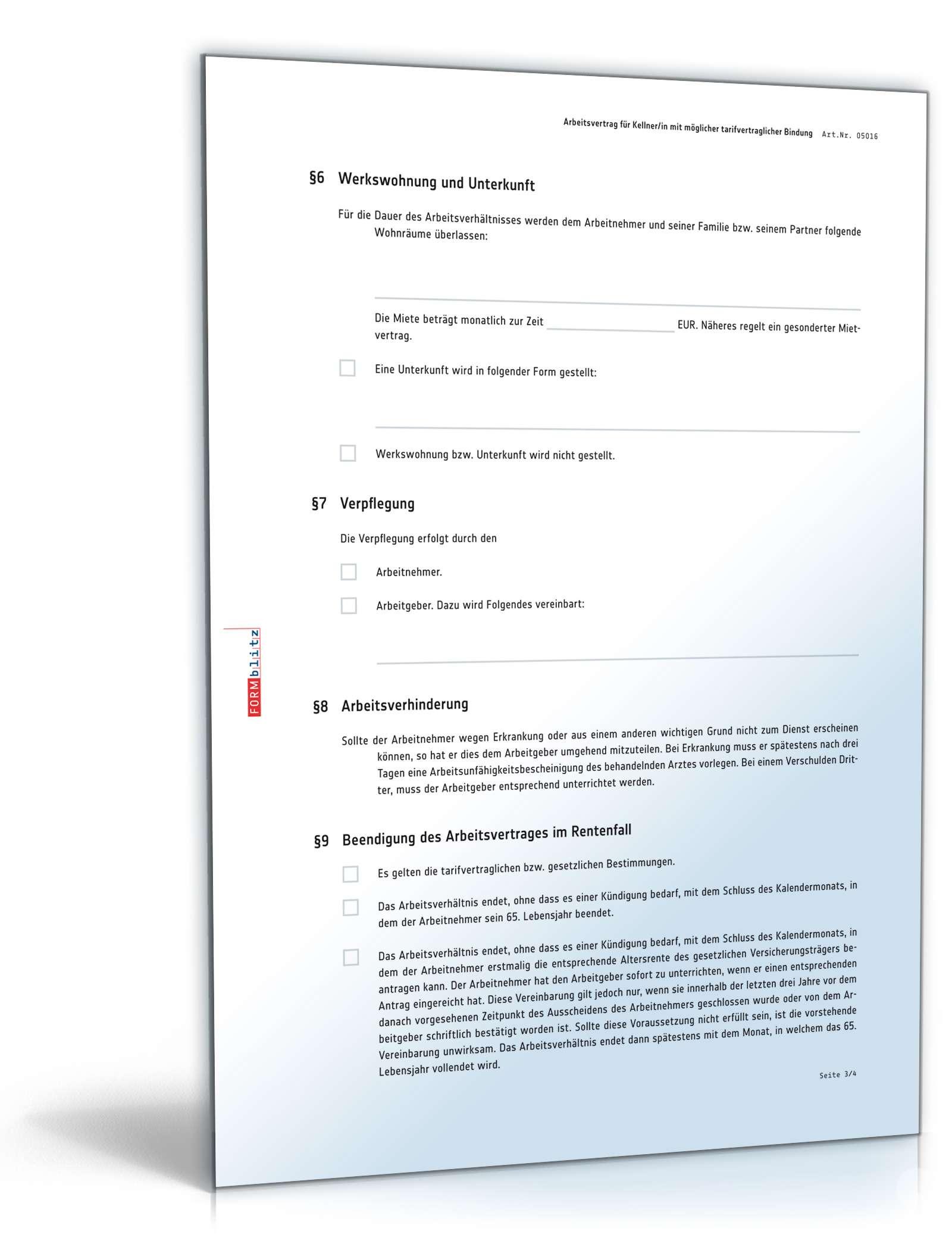 Arbeitsvertrag Kellner Muster Zum Download
