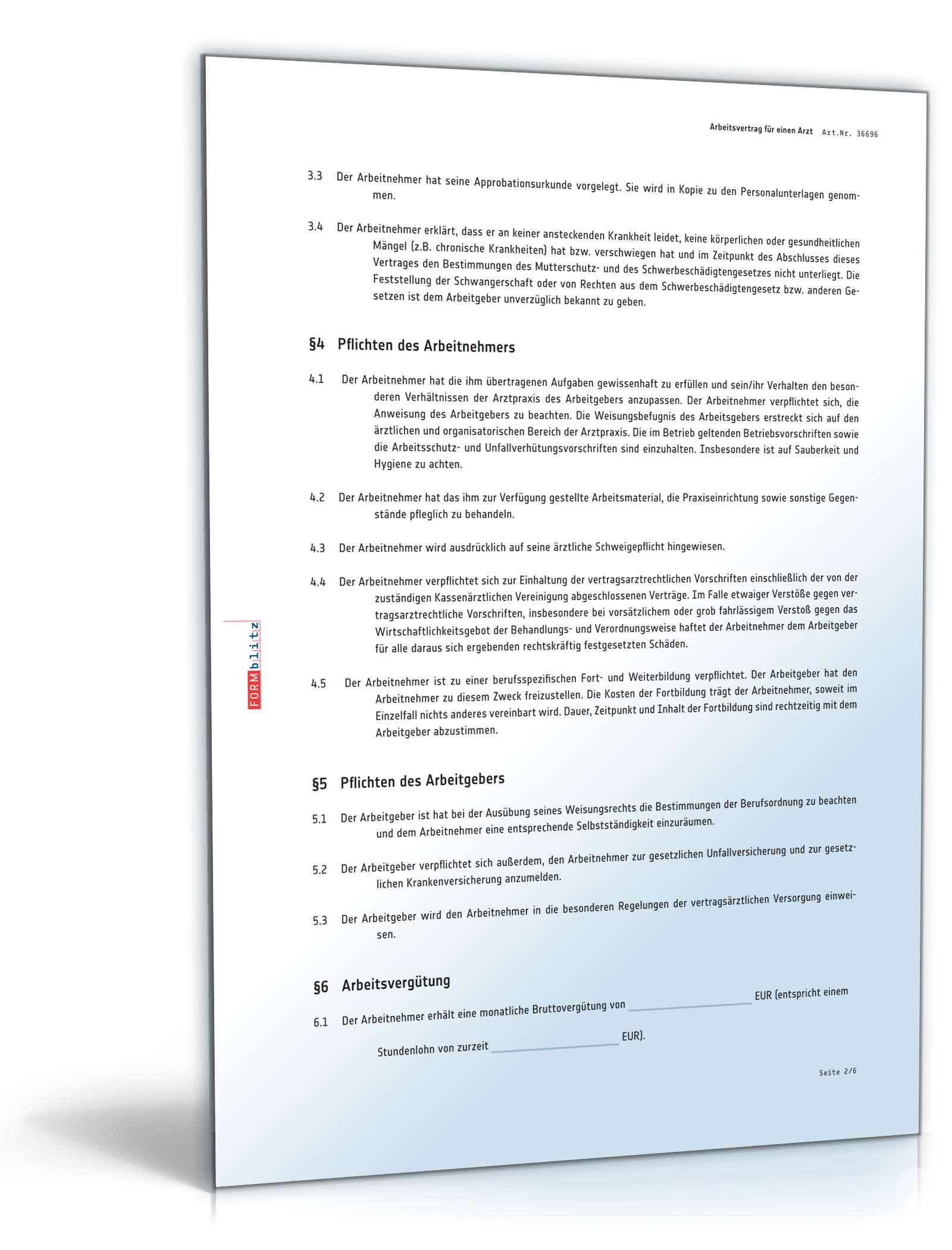Arbeitsvertrag Arzt Rechtssicheres Muster Zum Download