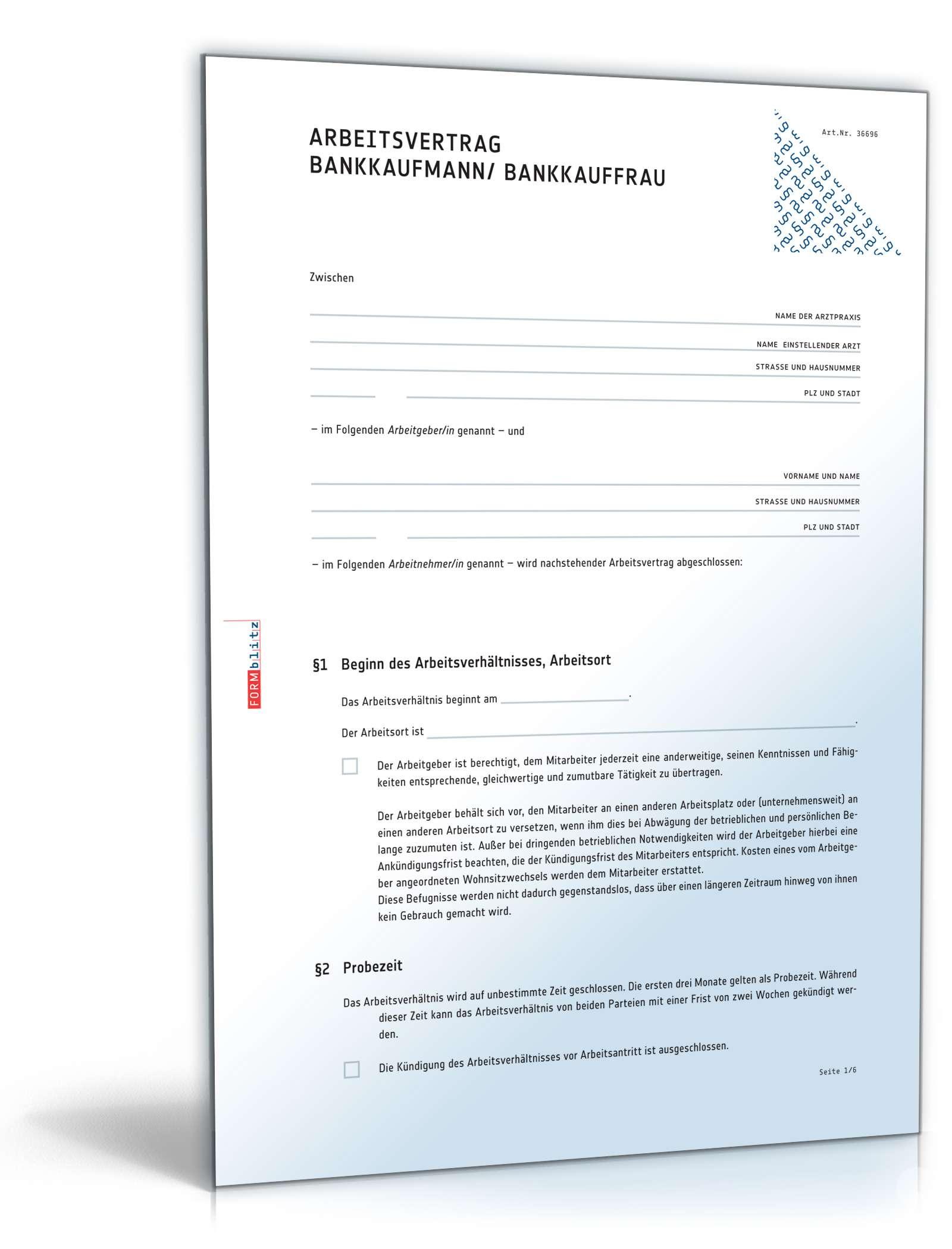 Arbeitsvertrag Bankkaufmann Muster Zum Download