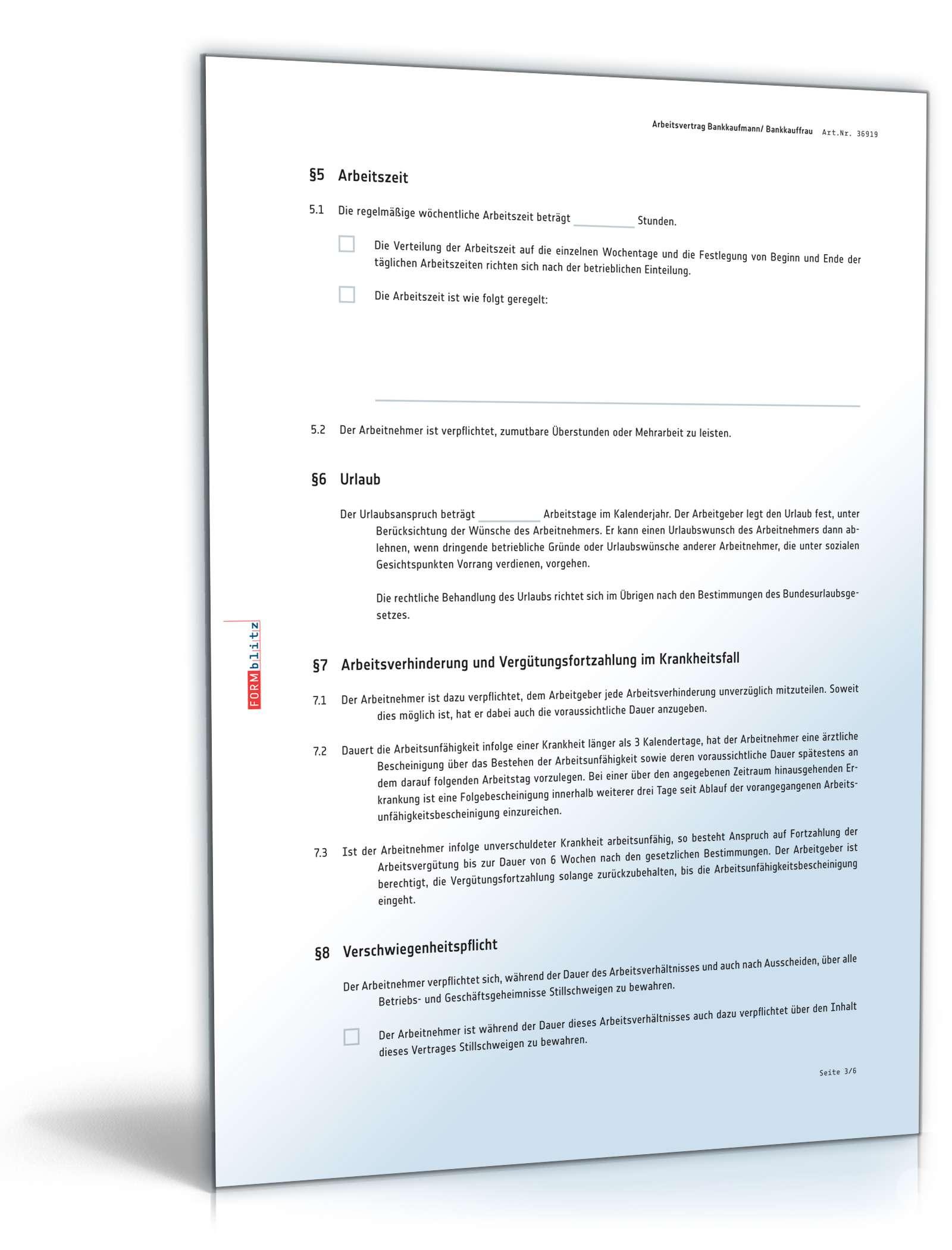Arbeitsvertrag Bankkaufmann | Muster zum Download