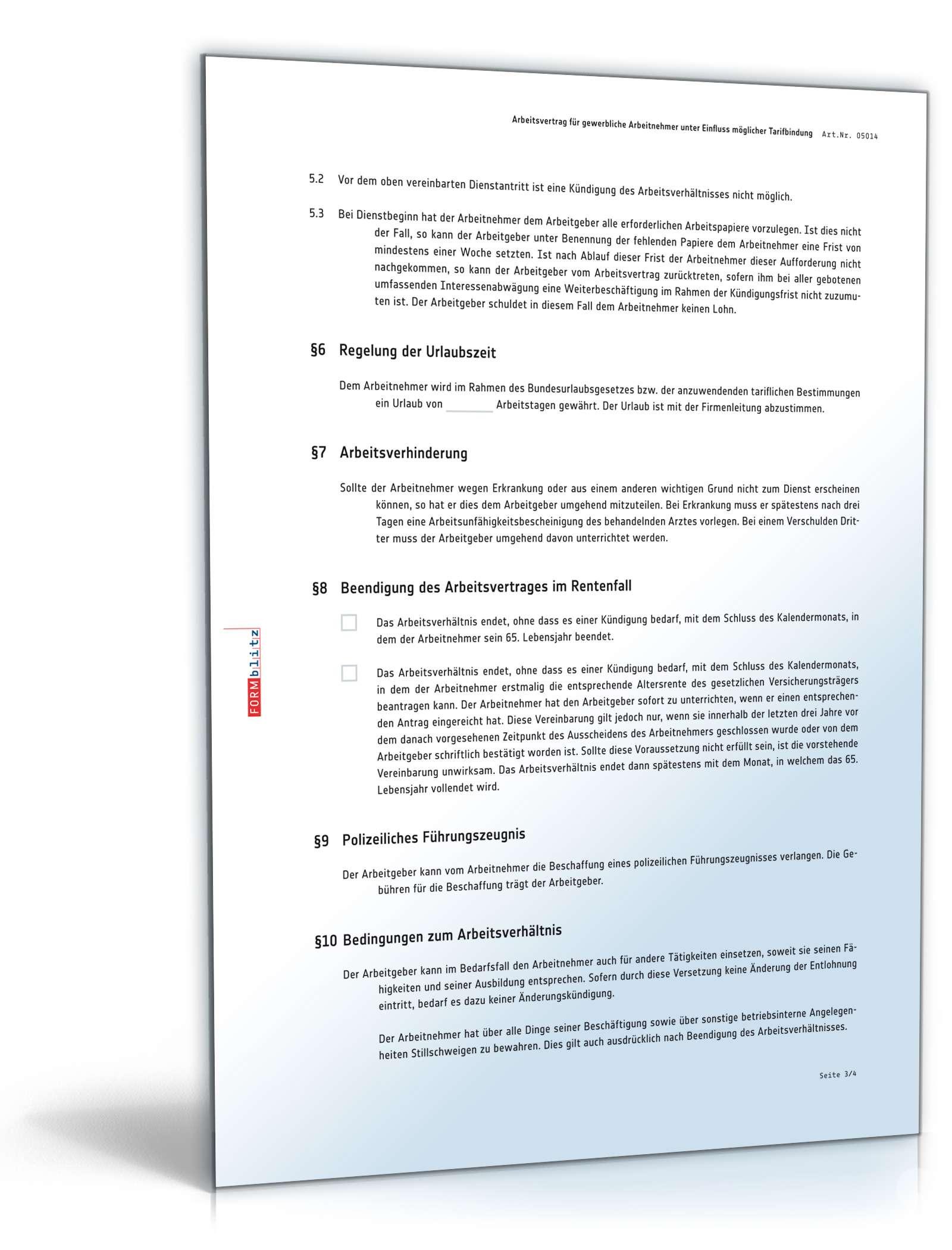 Arbeitsvertrag Gewerbliche Arbeitnehmer Vorlage Tarifbindung