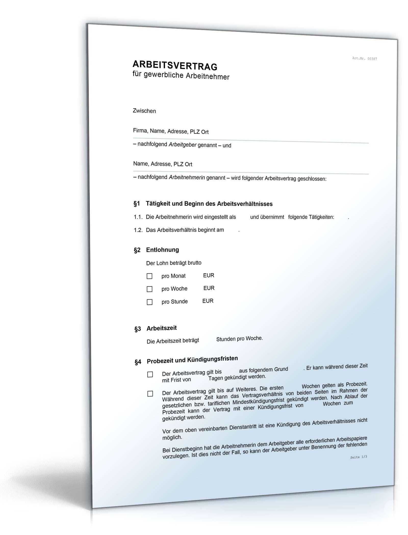 Arbeitsvertrag Gewerbliche Arbeitnehmer Muster Zum Download