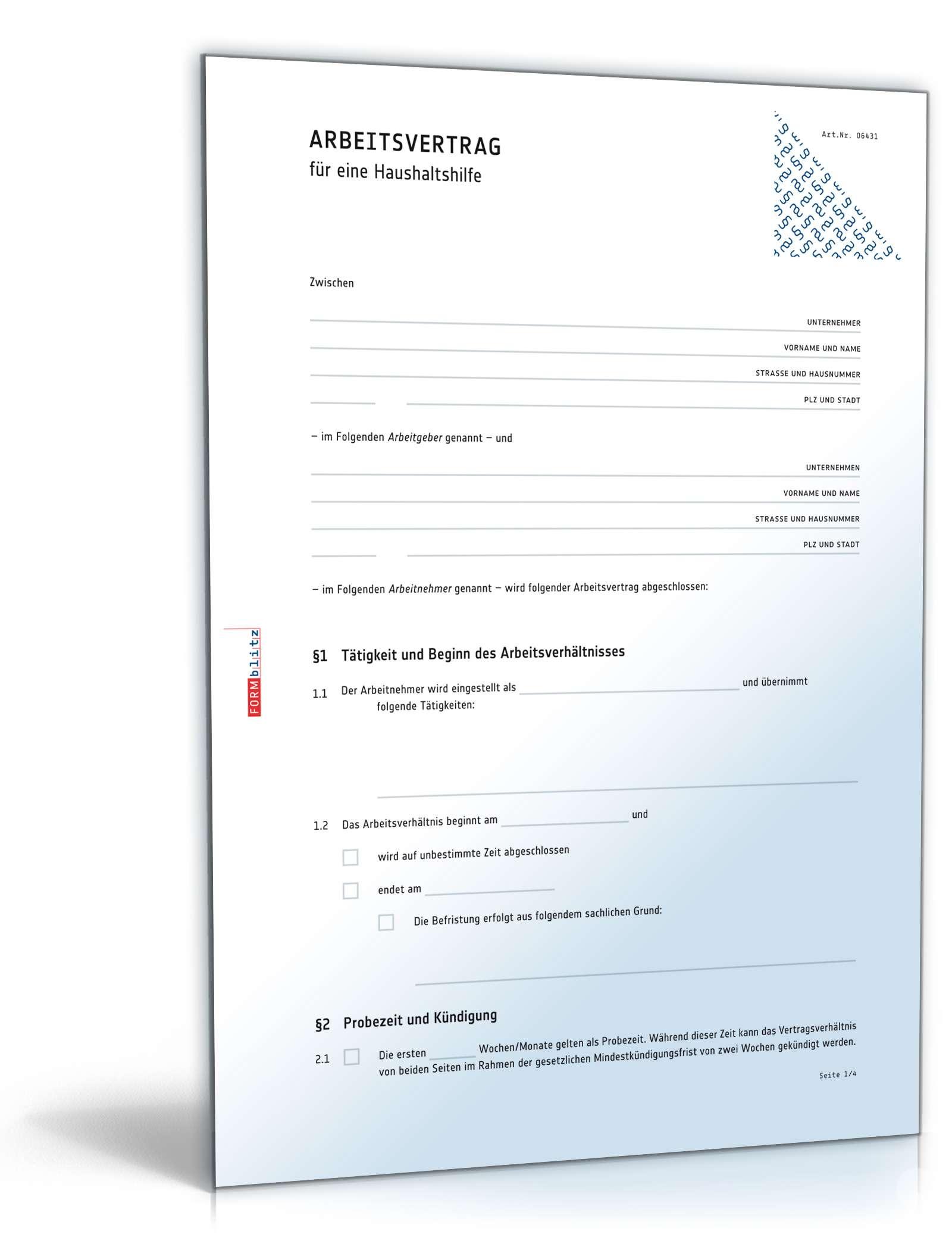 arbeitsvertrag haushaltshilfe muster zum download - Arbeitsvertrage Muster
