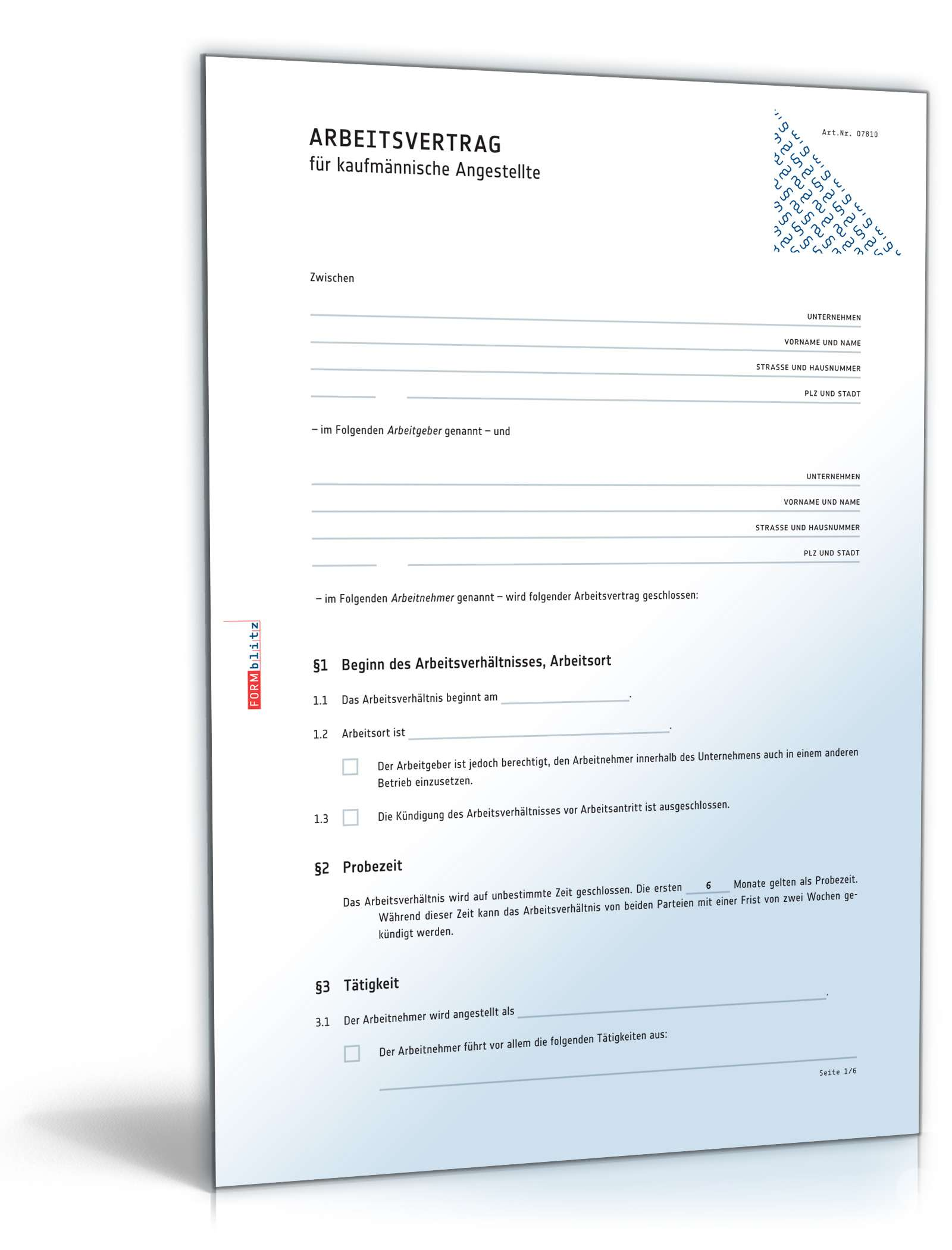 Arbeitsvertrag Kaufmännische Angestellte Muster Zum Download