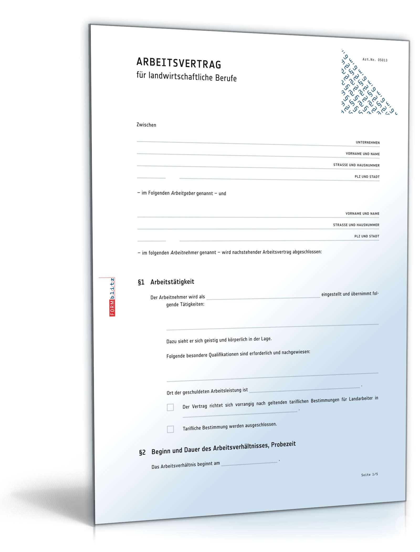 Arbeitsvertrag Landwirtschaft | Muster zum Download