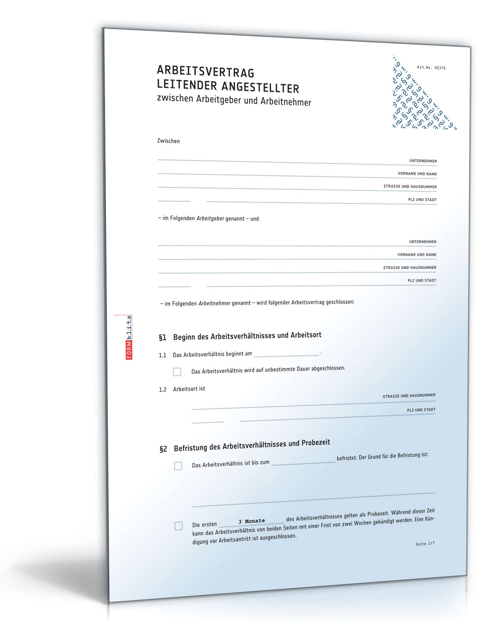 Arbeitsvertrag Leitende Angestellte Muster Zum Download