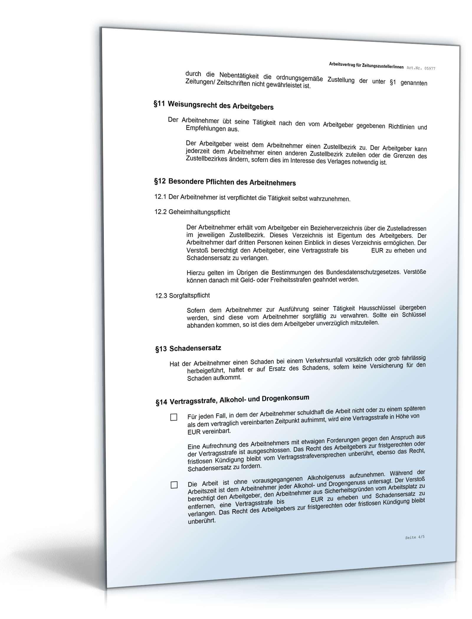 Arbeitsvertrag Zeitungszusteller Muster Zum Download