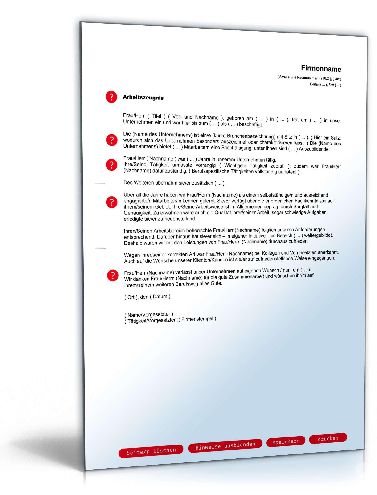 Arbeitszeugnis Ausreichend Note Vier Muster Zum Download