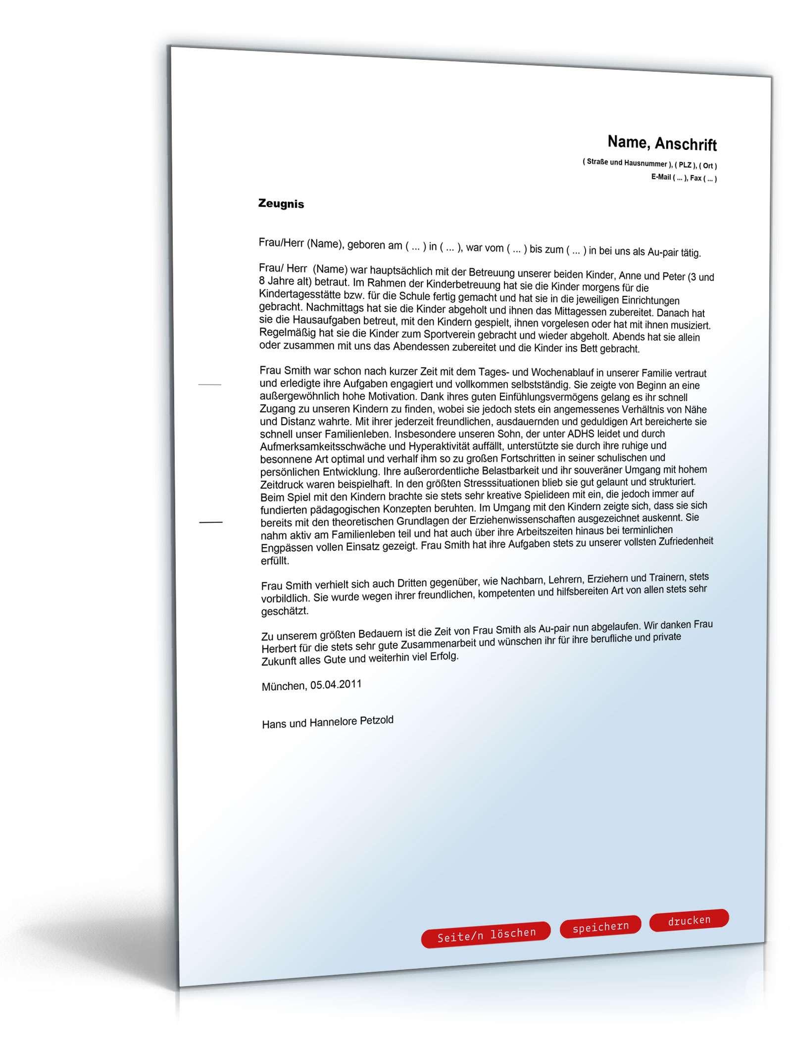 Zeugnis für Au-pair: Rechtssicheres Muster zum Download