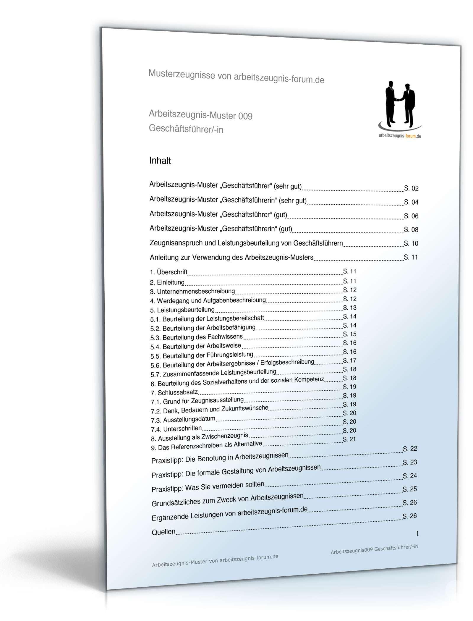 Arbeitszeugnis Geschäftsführer Muster Zum Download