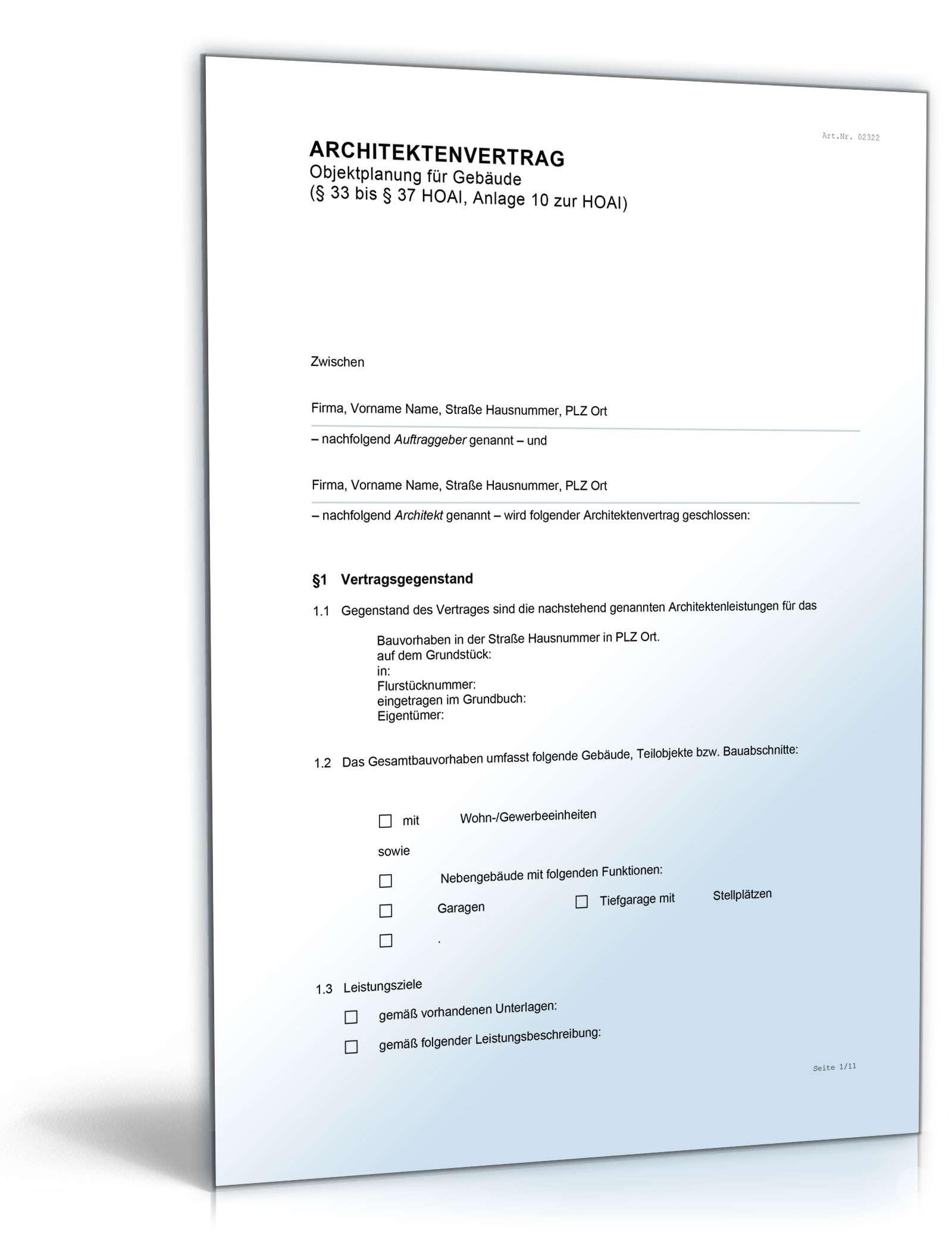 Architektenvertrag Nach Hoai Rechtssicheres Muster Downloaden