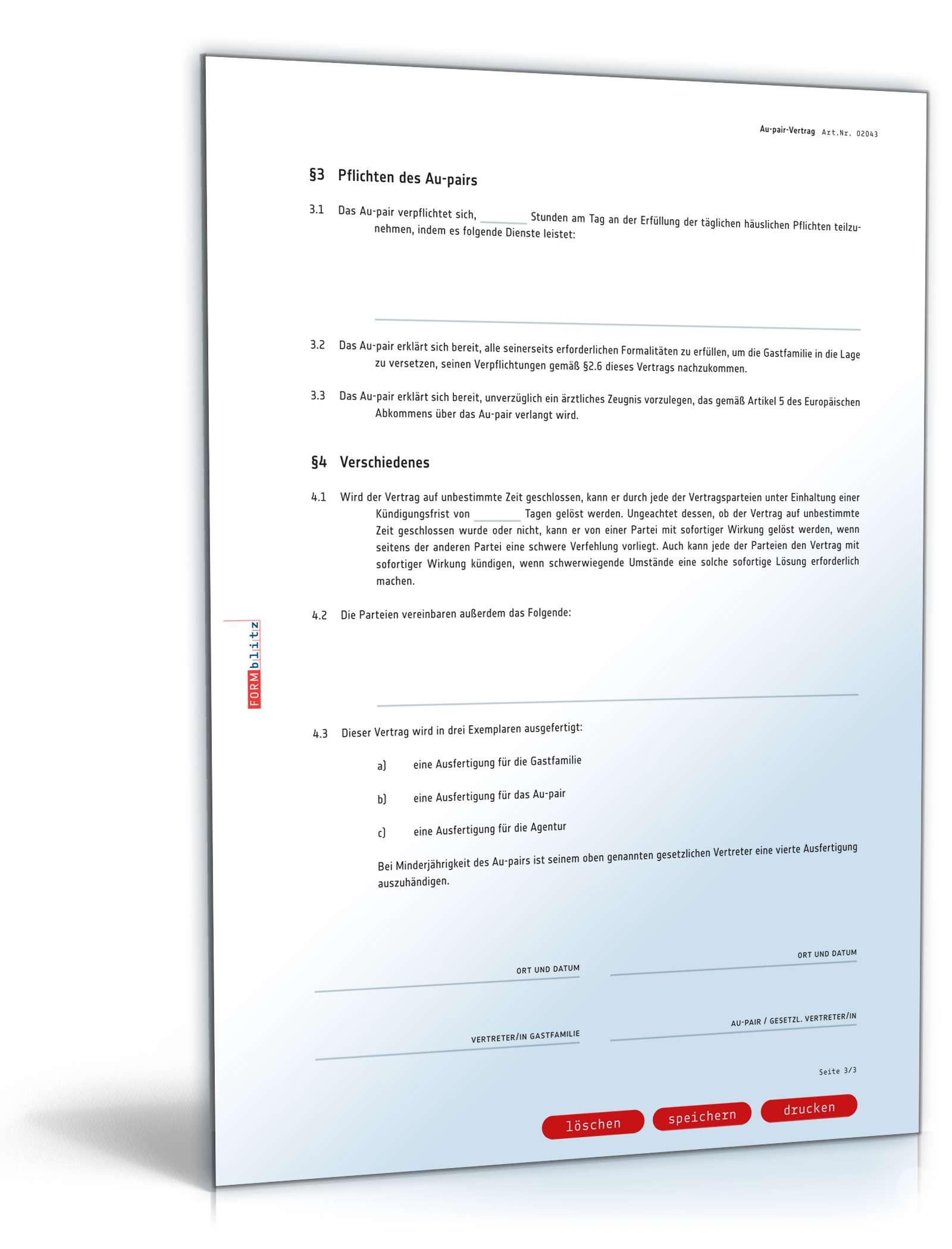 Au Pair Vertrag Rechtssicheres Muster Zum Download