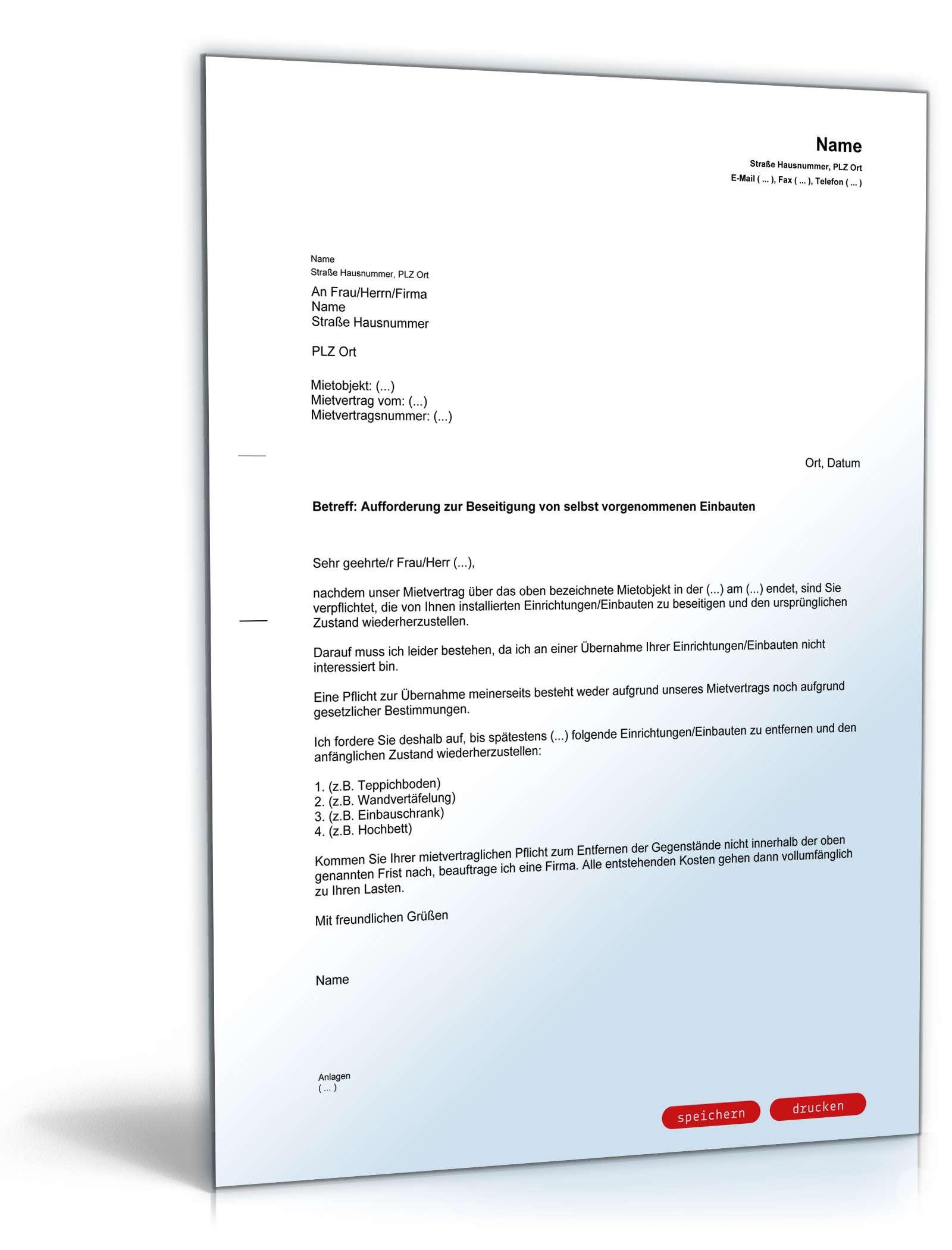 Brief Für Vermieter : Musterbrief paket für vermieter vorlagen zum download