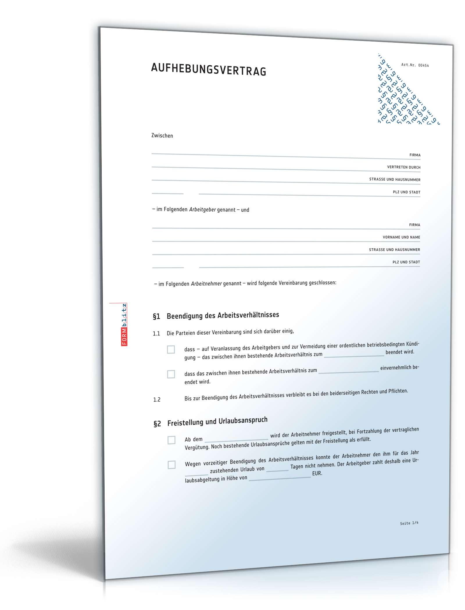 Aufhebungsvertrag Arbeitsverhältnis Muster Zum Download
