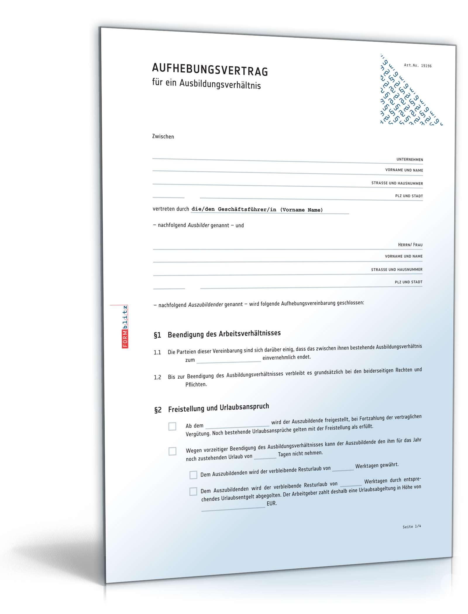 Aufhebungsvertrag Ausbildungsverhältnis | Muster zum Download