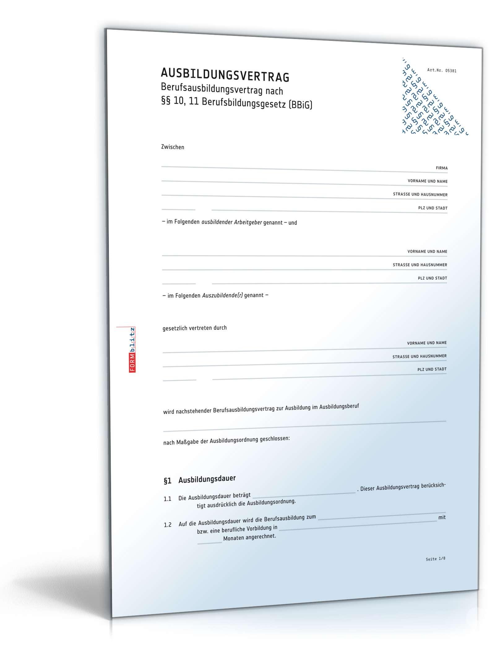 Ausbildungsvertrag | Muster für Arbeitsvertrag zum Download