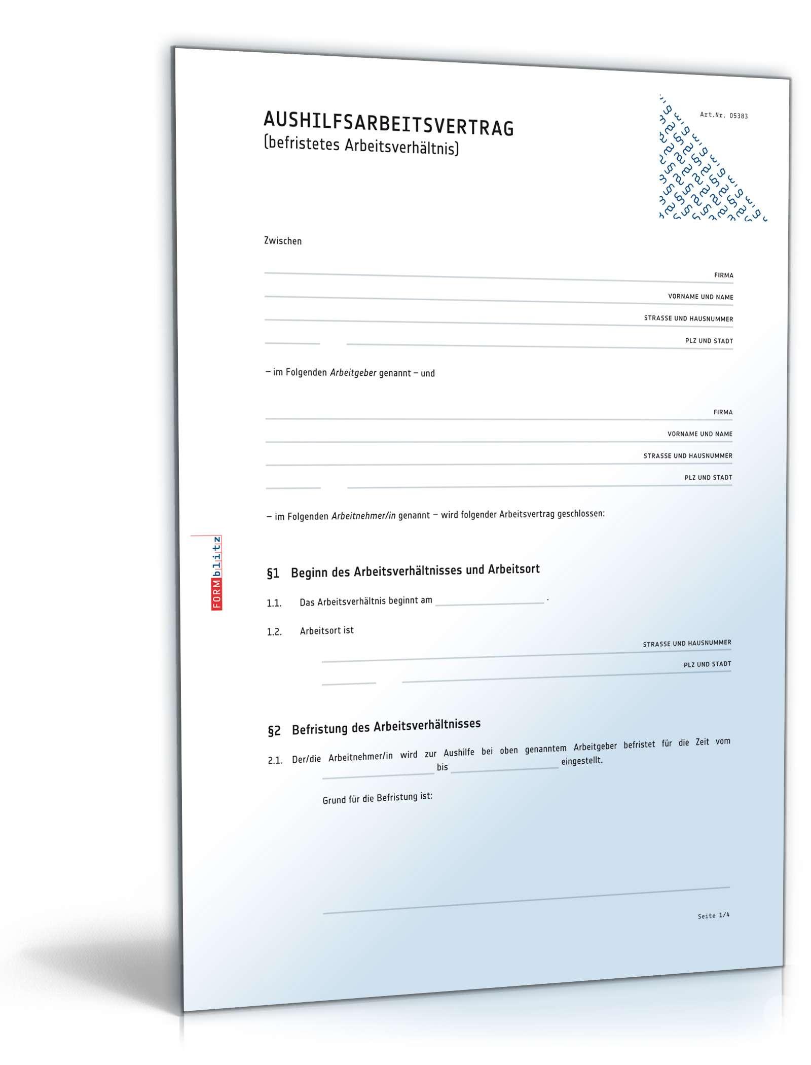 Aushilfsarbeitsvertrag Anwaltsgeprüftes Muster Zum Download