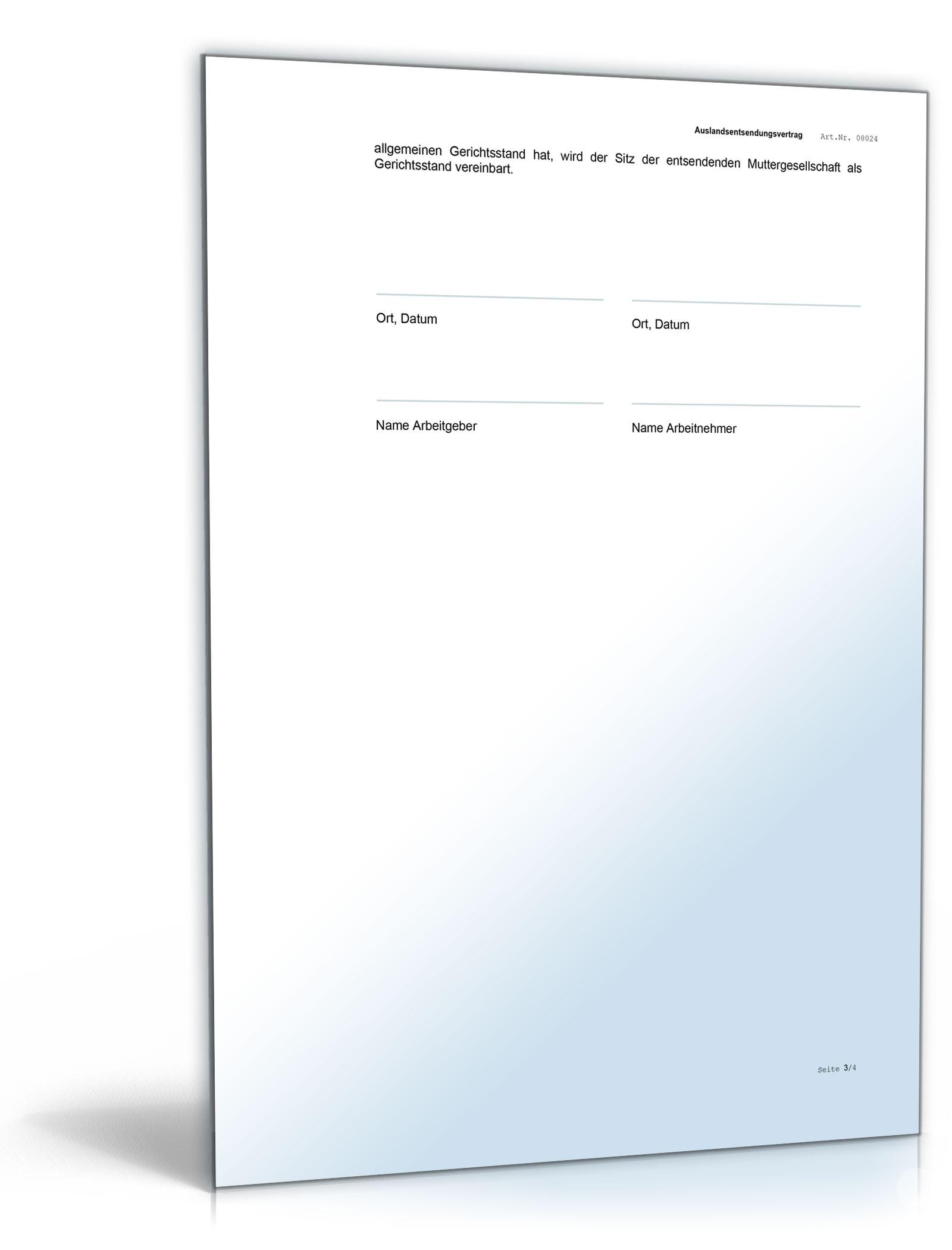 Arbeitsvertrag Zusatzvereinbarung Auslandsentsendung Muster Zum
