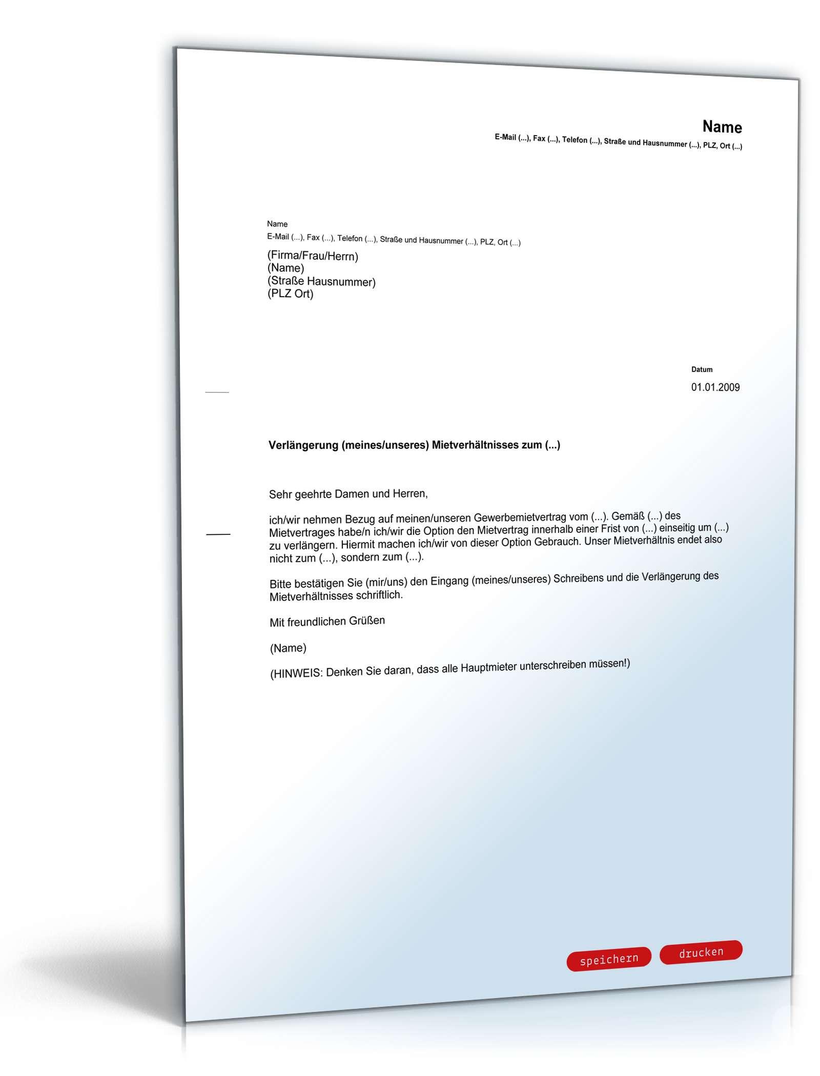Verlängerung Gewerbemietvertrag Mieter Muster Zum Download