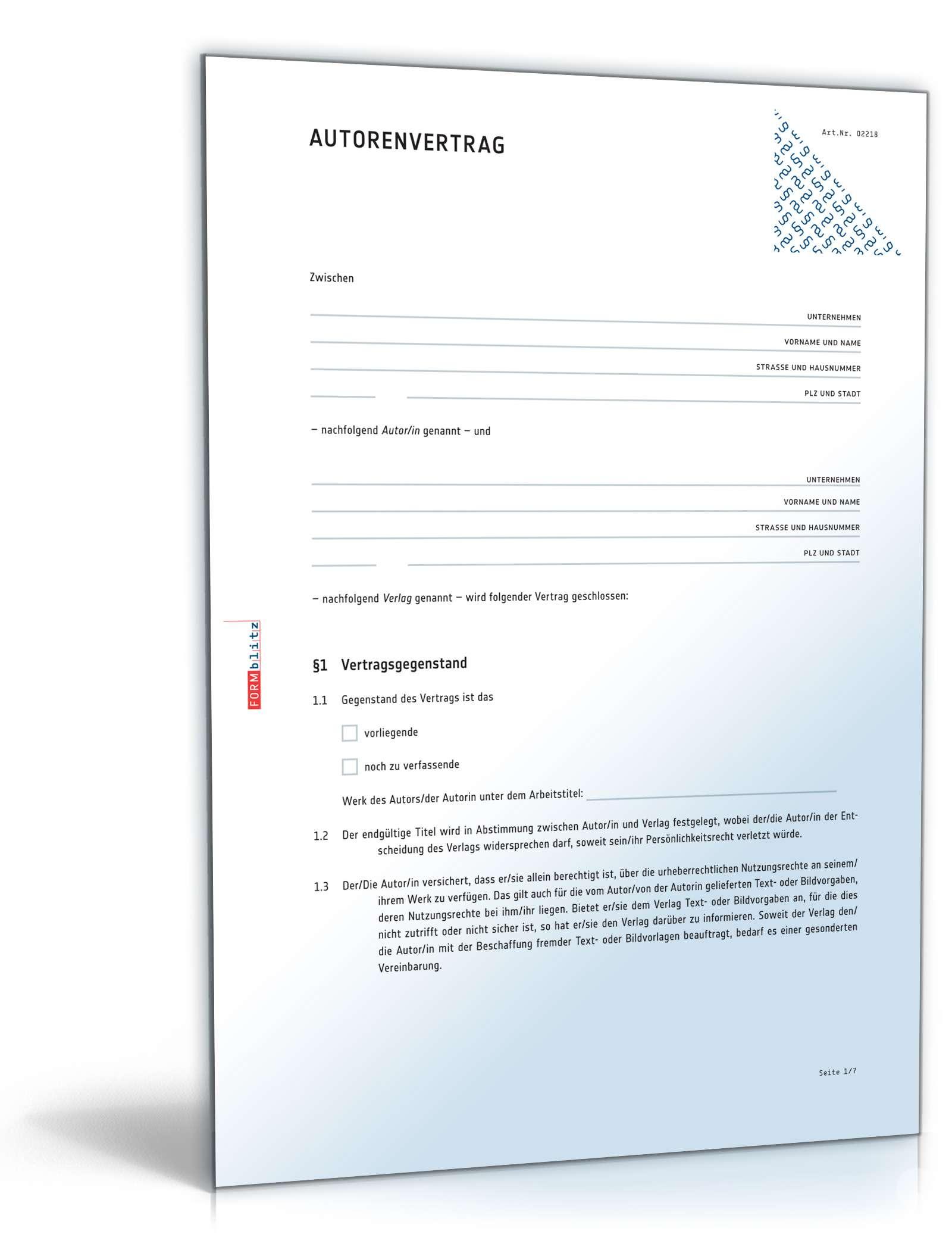 Autorenvertrag Anwaltsgeprüftes Muster Zum Download