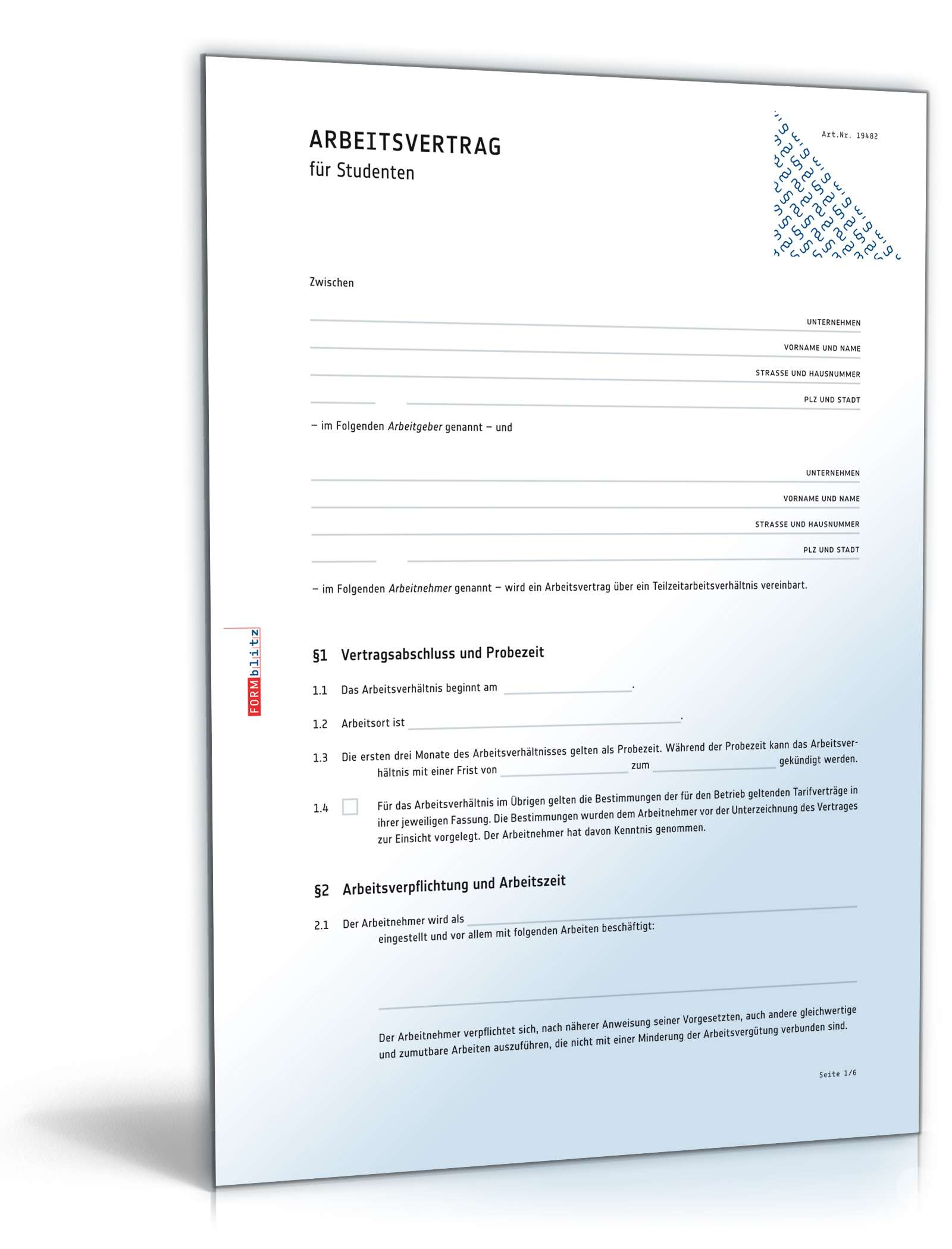 Arbeitsvertrag Für Studenten Muster Zum Download