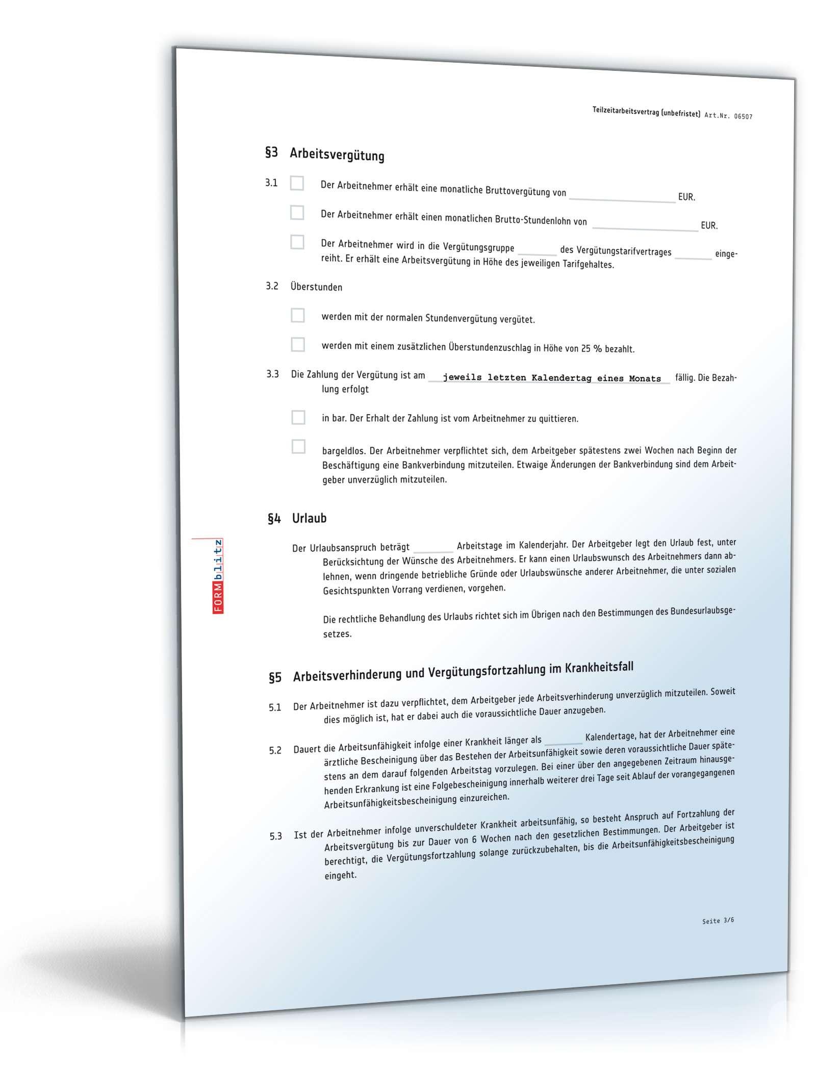 Unbefristeter Teilzeitarbeitsvertrag Mit Möglicher Tarifbindung