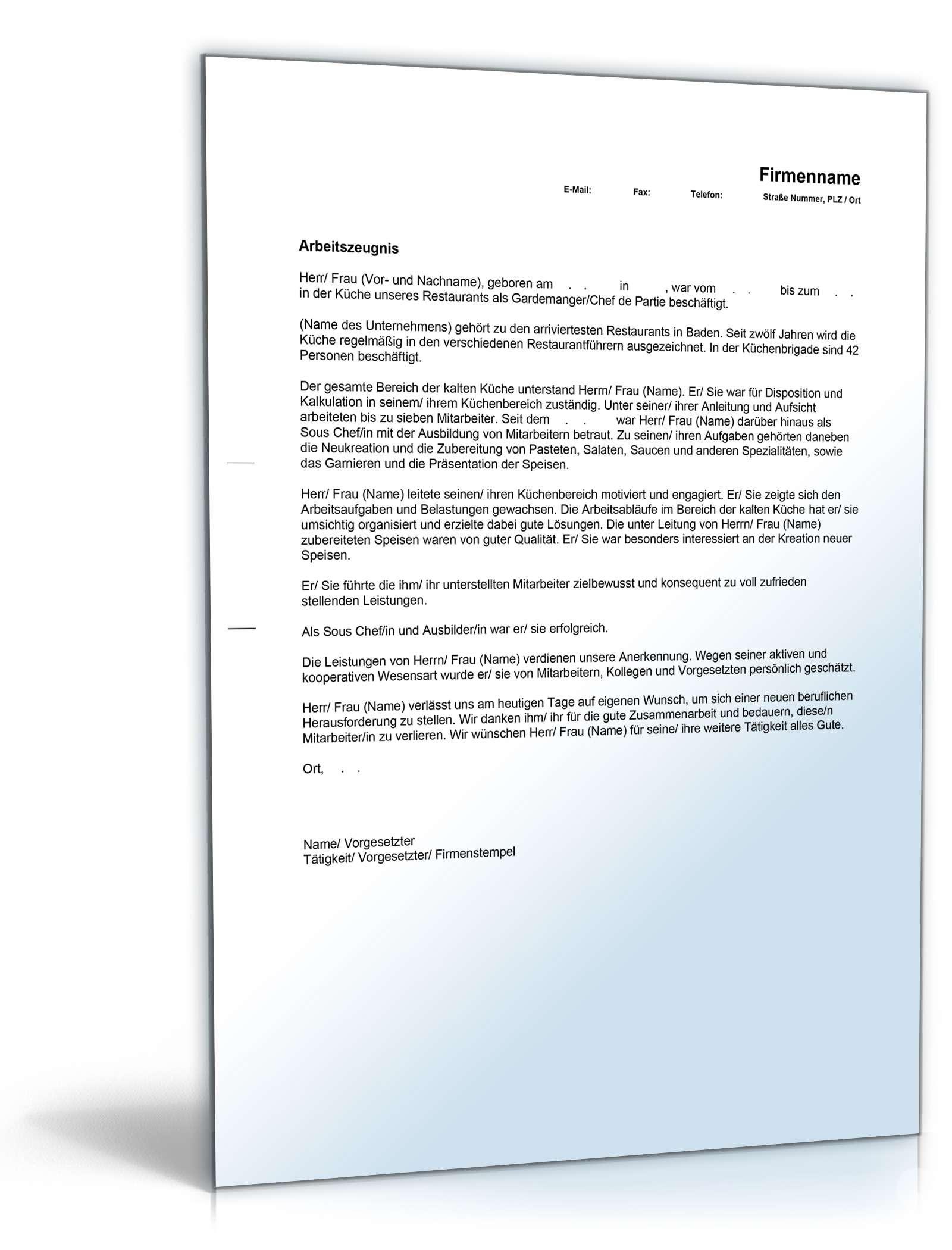 Wunderbar Lebenslauf Für Chefkoch Zeitgenössisch - Entry Level ...