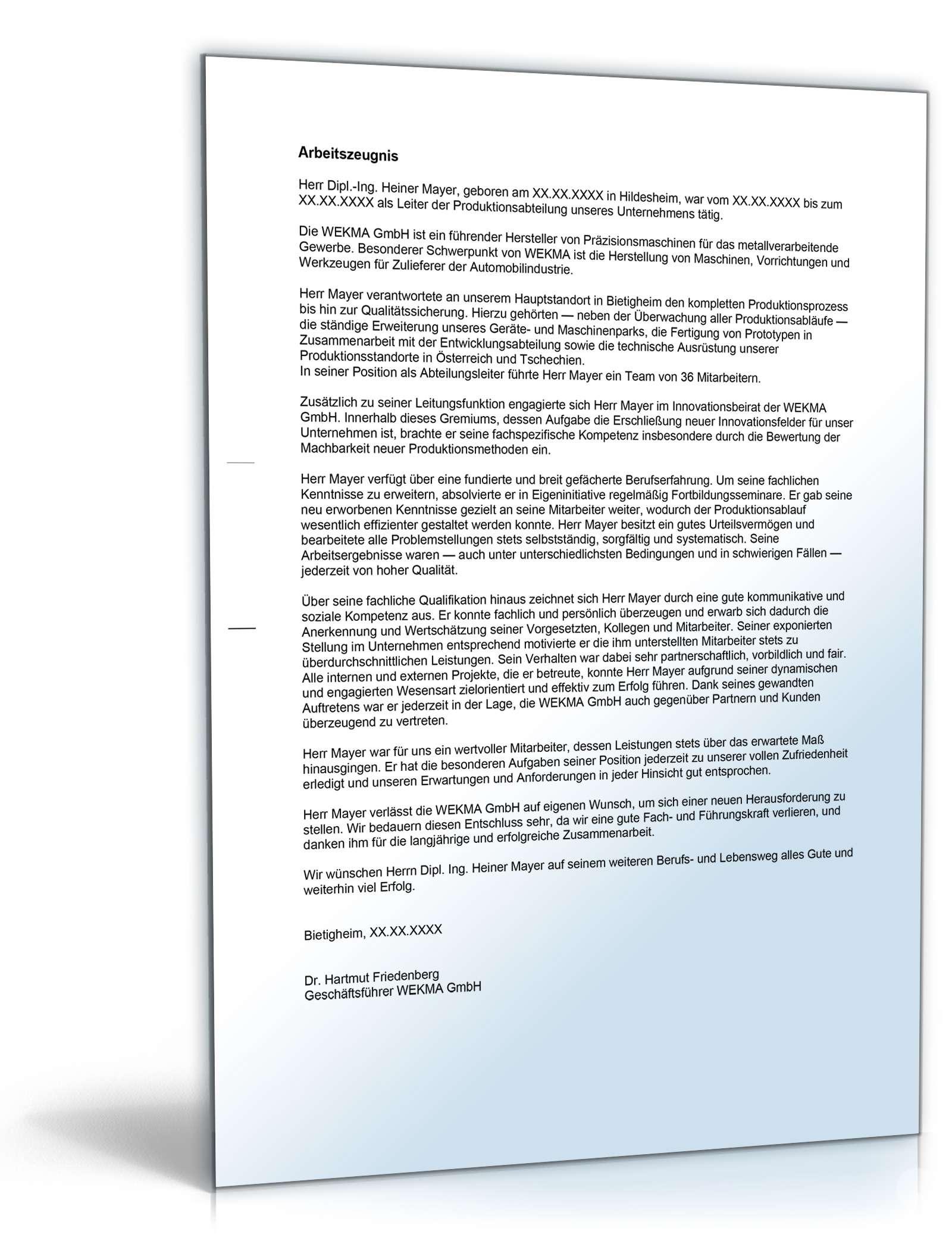 Arbeitszeugnis Führungskraft Gut: Muster zum Download