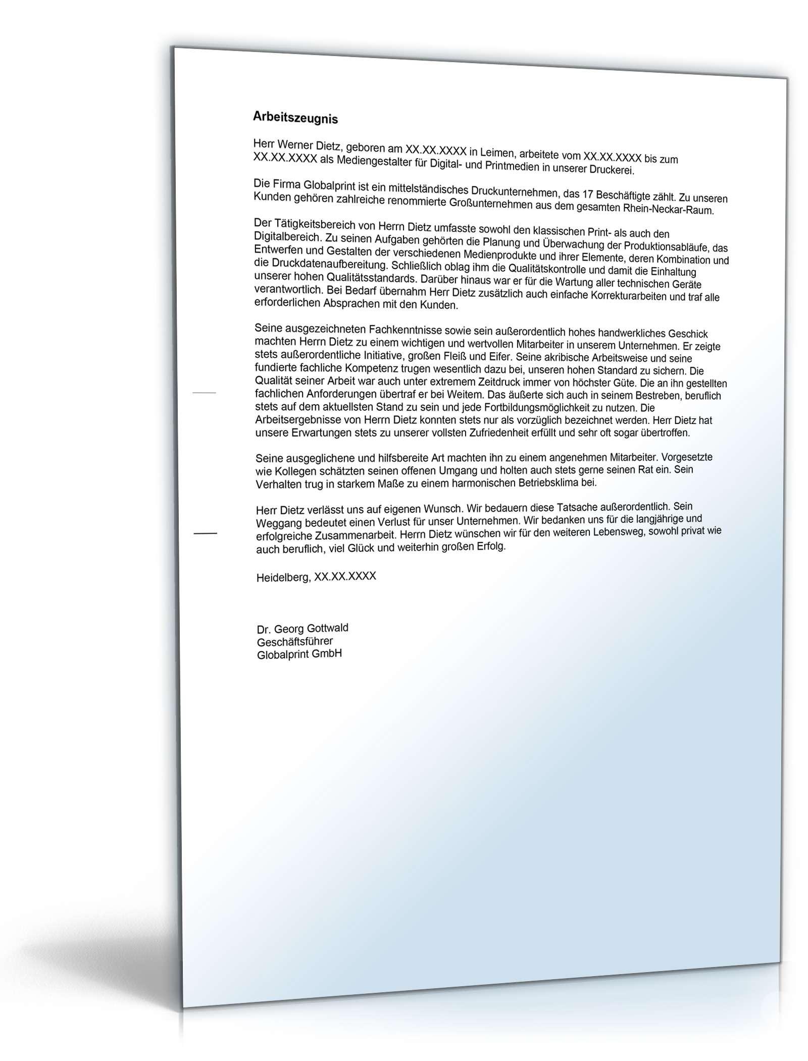 arbeitszeugnis mediendesigner note eins vorlage zum download arbeitszeugnis vorlagen kostenlos - Vorlage Lebenslauf Kostenlos