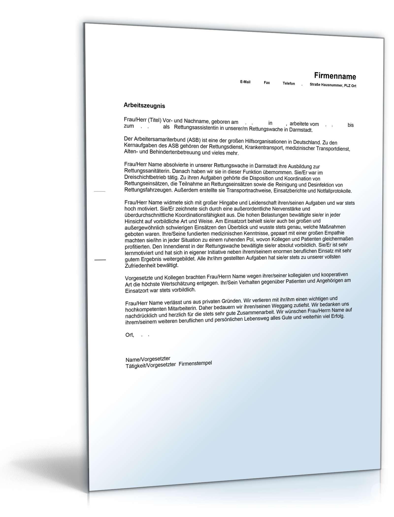 Arbeitszeugnis Rettungsassistent Note Eins | Vorlage zum Download | {Rettungssanitäter zeugnis 95}