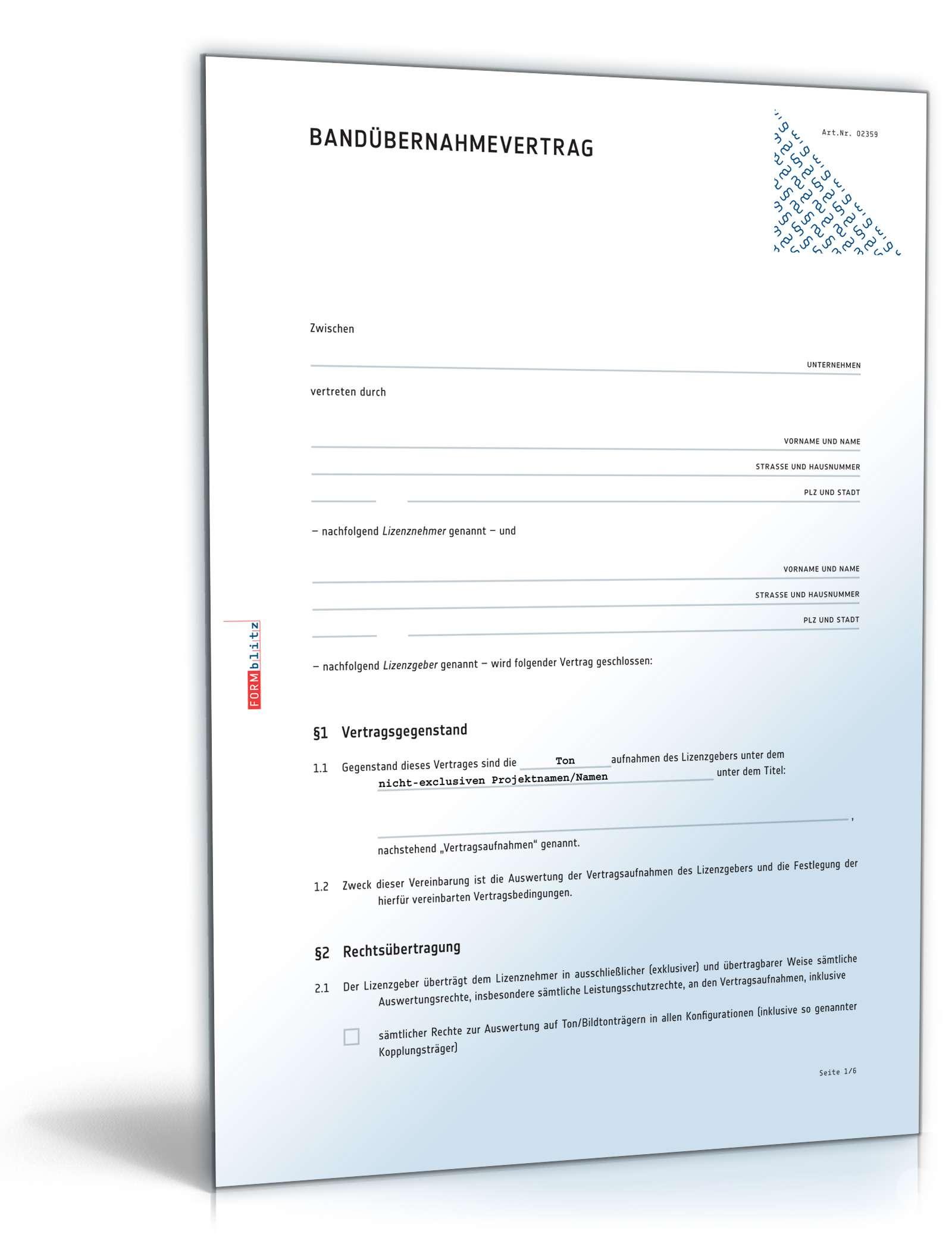 bandbernahmevertrag mit labelcopy muster zum download - Sponsoringvertrag Muster