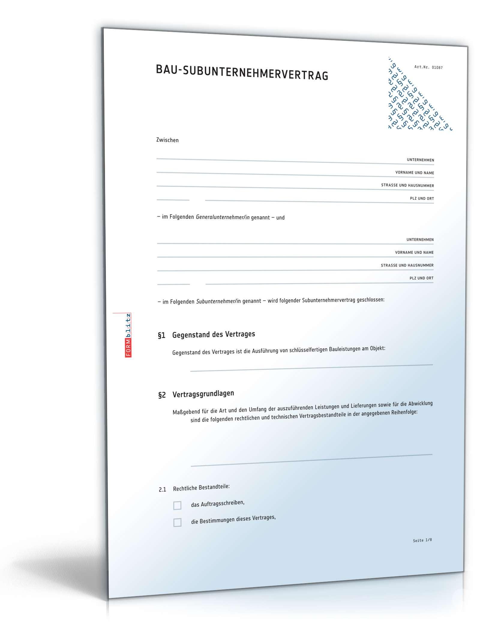 Subunternehmervertrag Bau Rechtssicheres Muster Zum Download